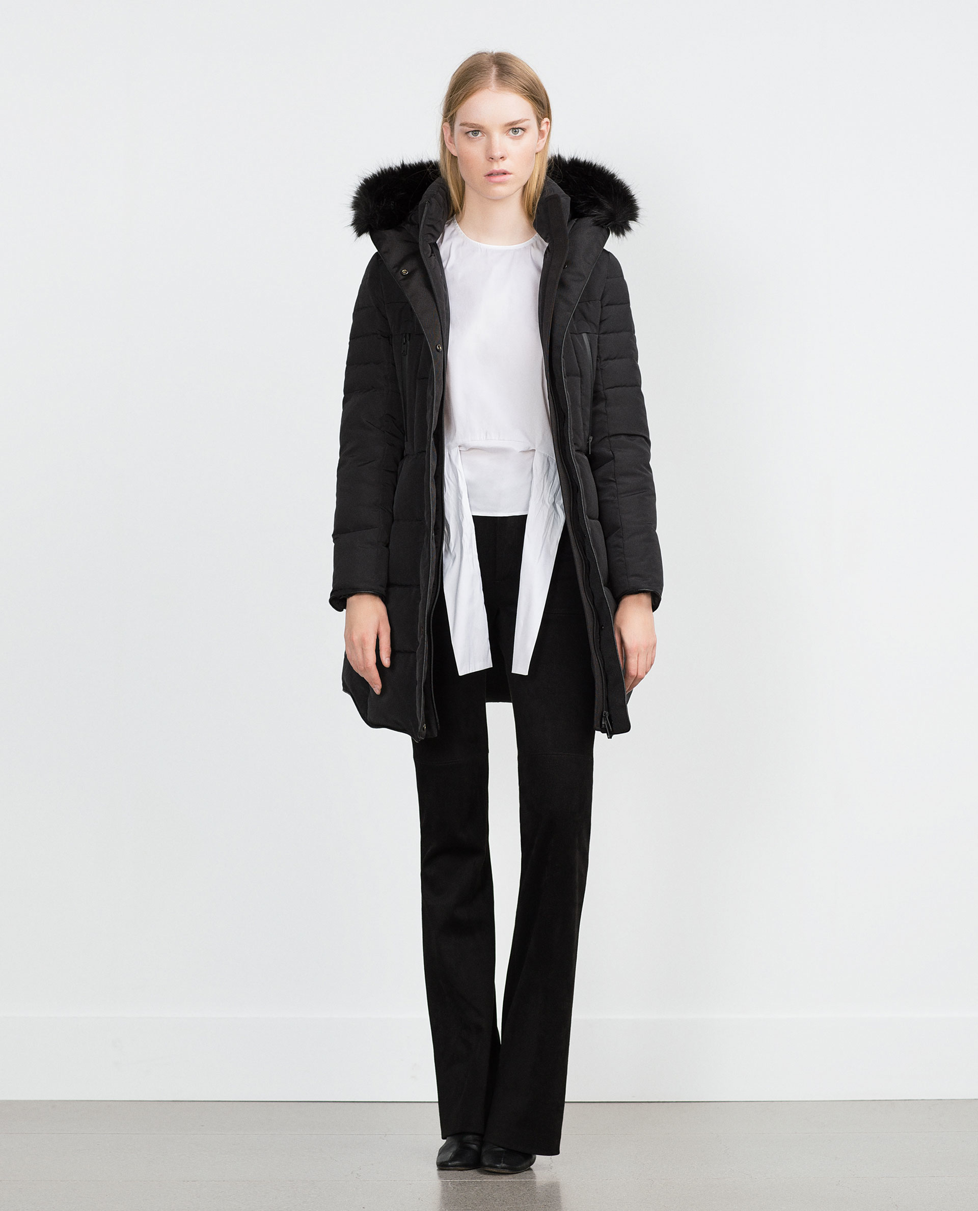 Zara Long Quilted Coat With Detachable Faux Fur in Black | Lyst