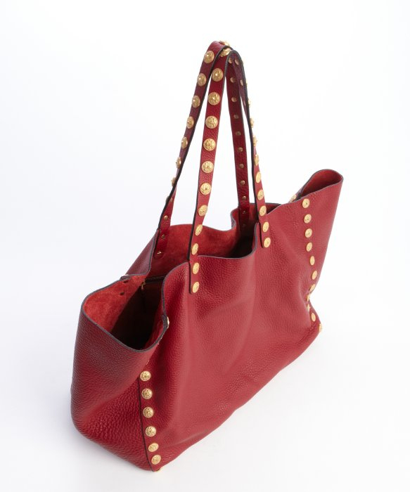 Valentino Scarlet Leather Studded Tote Bag in Red | Lyst