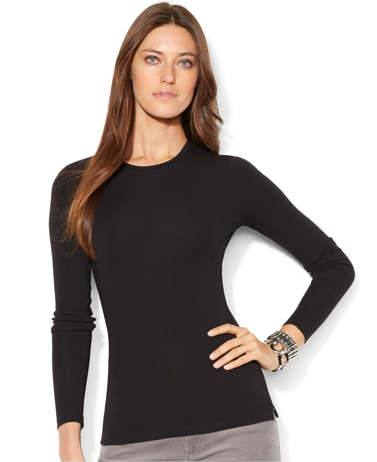 791cc0b0 Lauren by Ralph Lauren Petite Long-Sleeve Crew-Neck Top in Black - Lyst