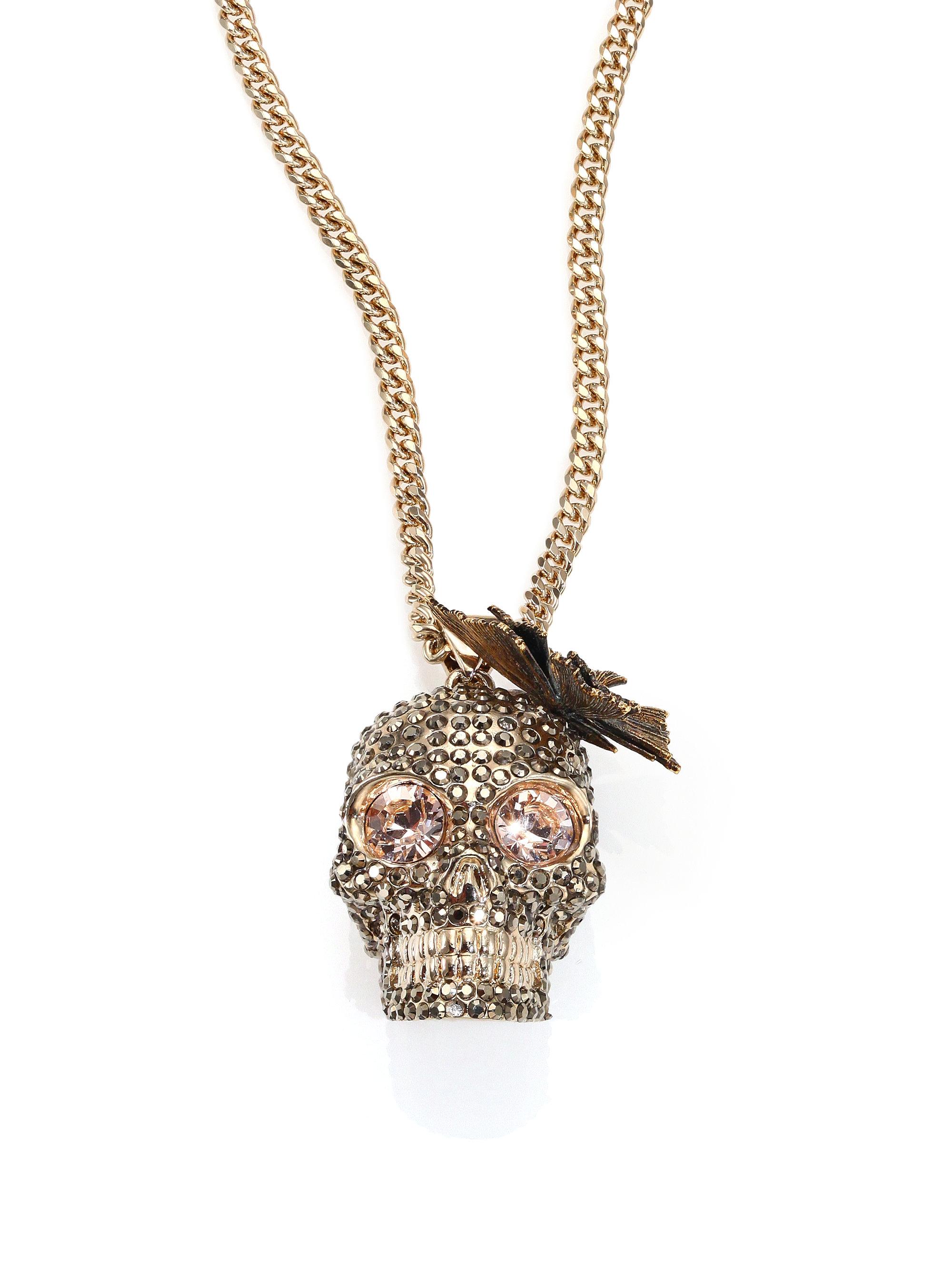 3205695de Alexander McQueen Butterfly Skull Crystal Pendant Necklace in ...