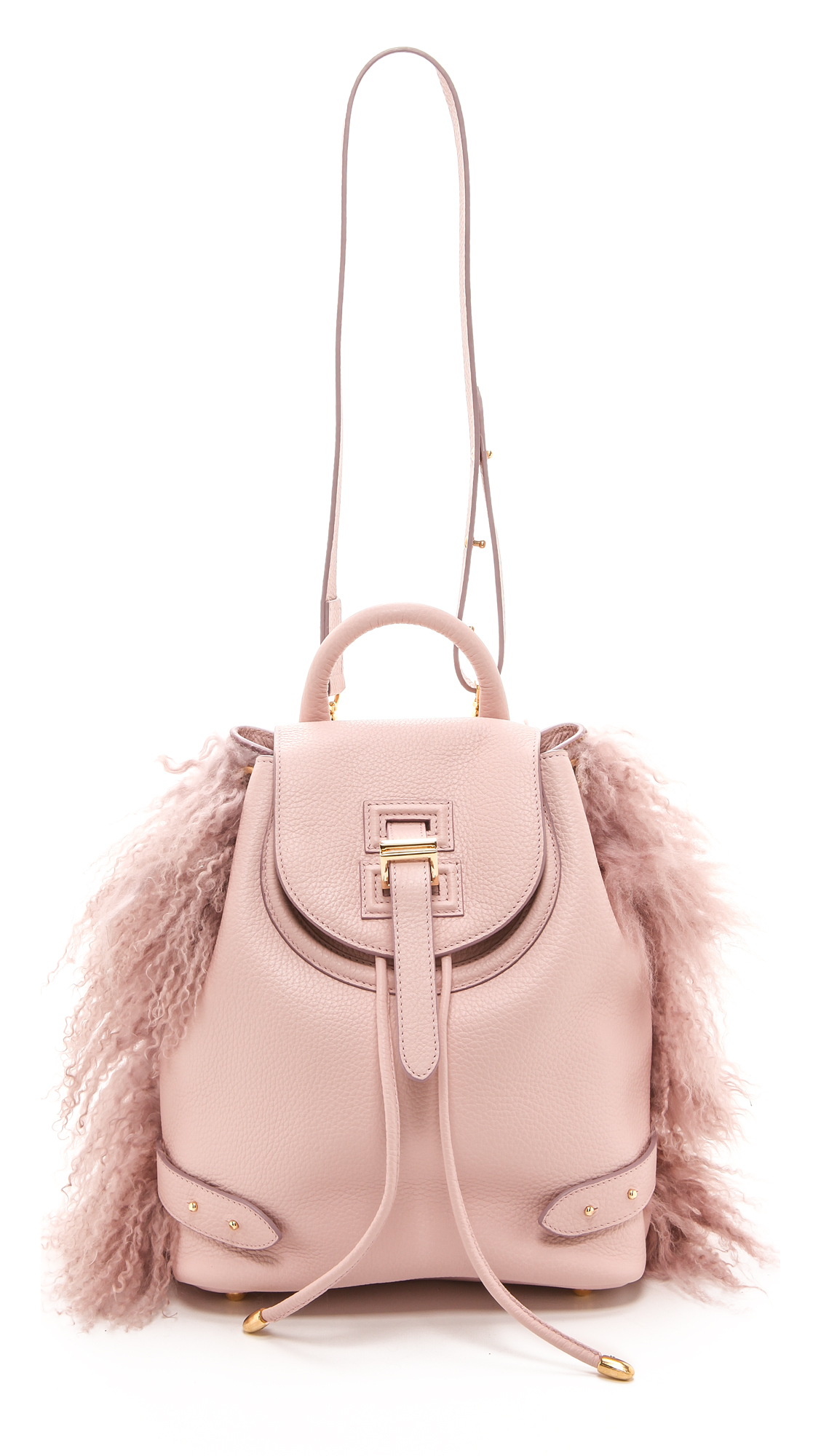 Meli Melo Mini Backpack with Lux Shearling Dusty Pink in Pink - Lyst b4d76287b151a