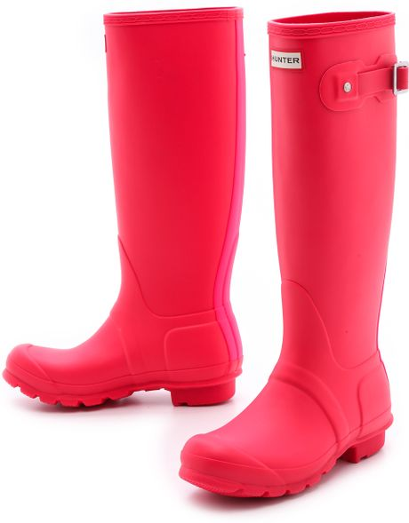 Hunter Original Stripe Tall Boots Bright Coral in Pink ...