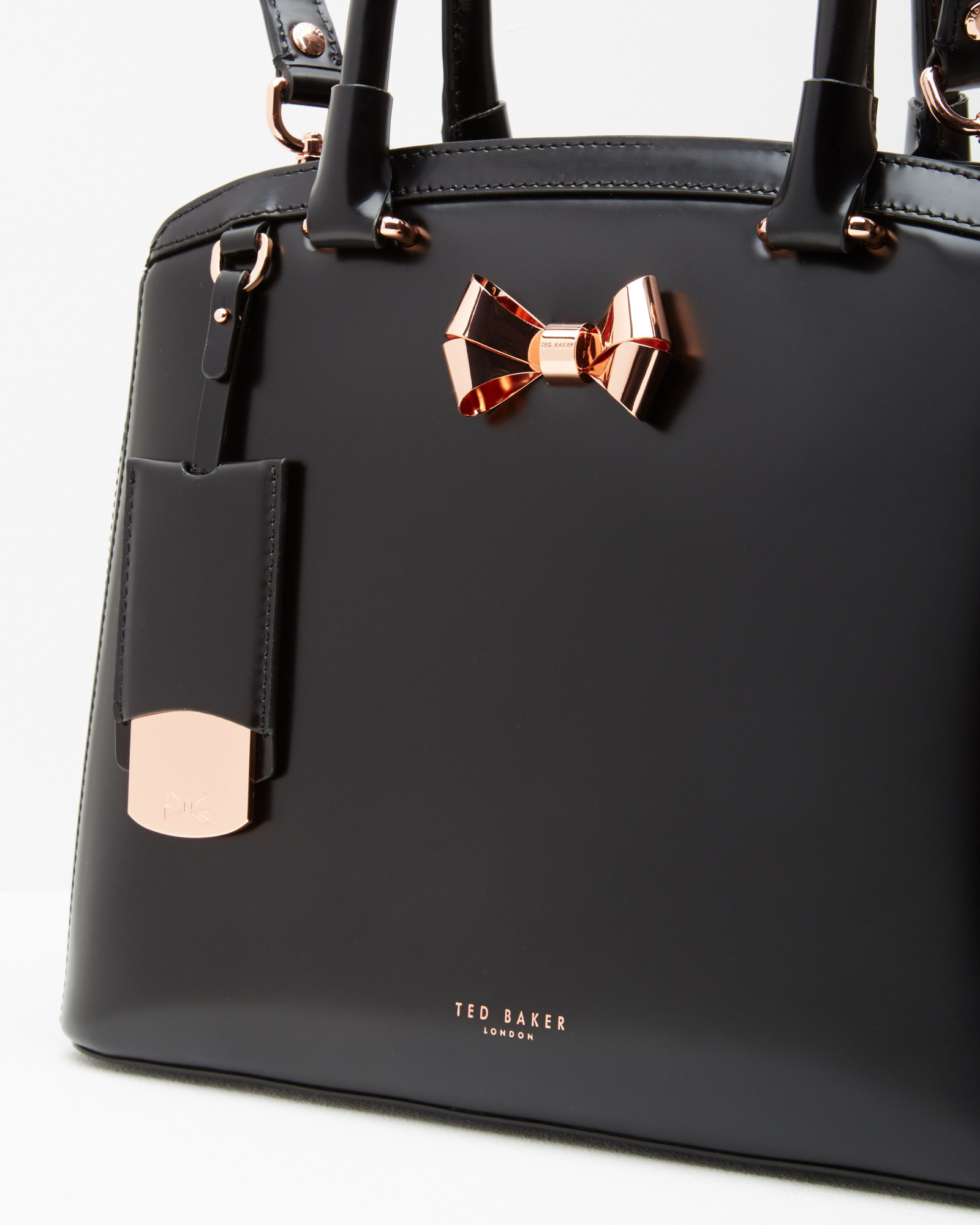 ece0013ca846 Ted Baker Bow Detail Leather Large Tote Bag in Black - Lyst