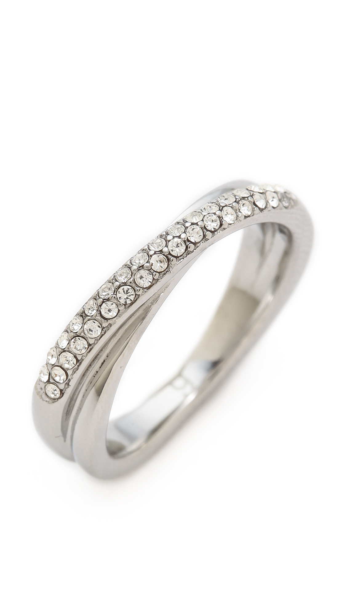 michael kors pave crossover ring silverclear in silver