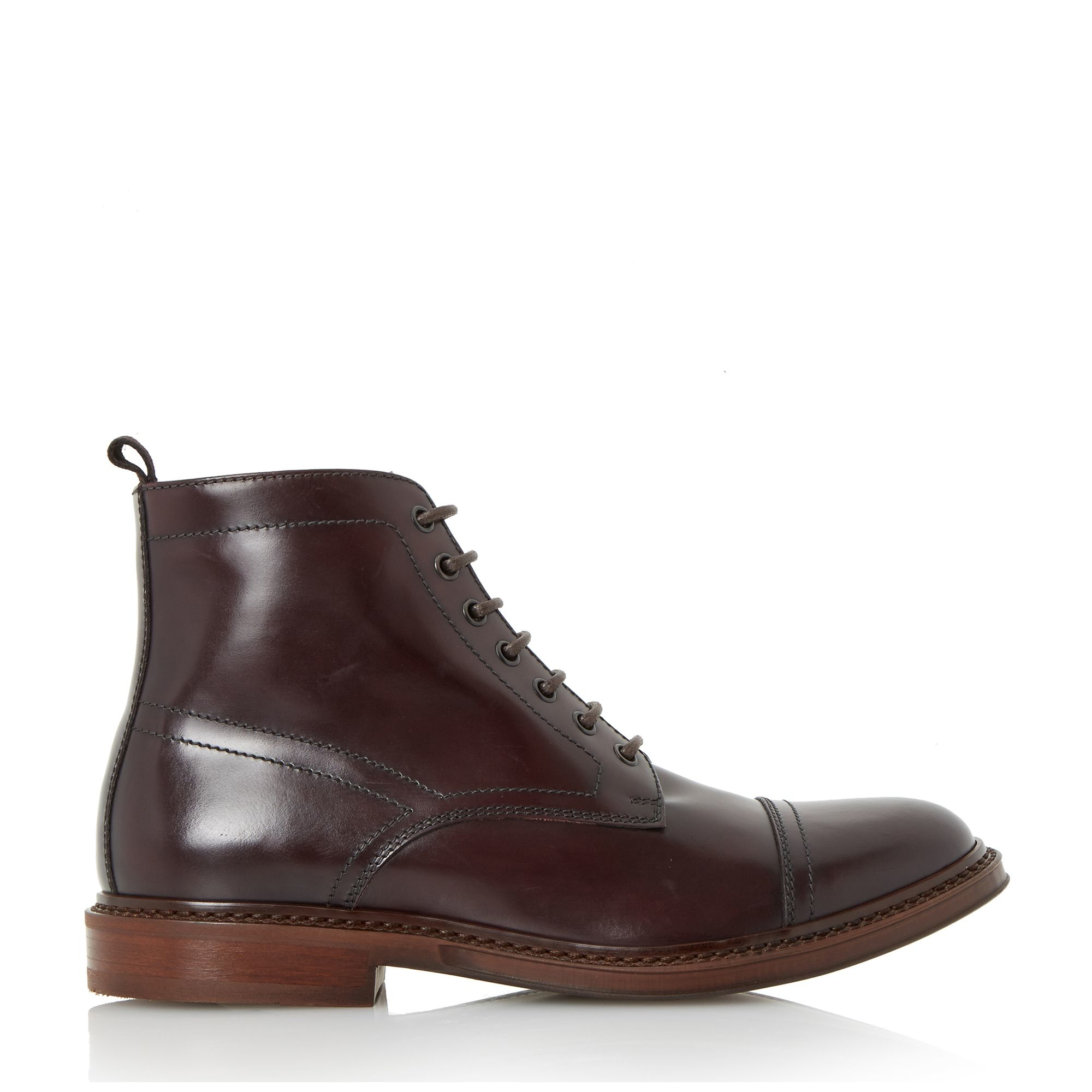 dune connelly plain toecap leather boots in black for