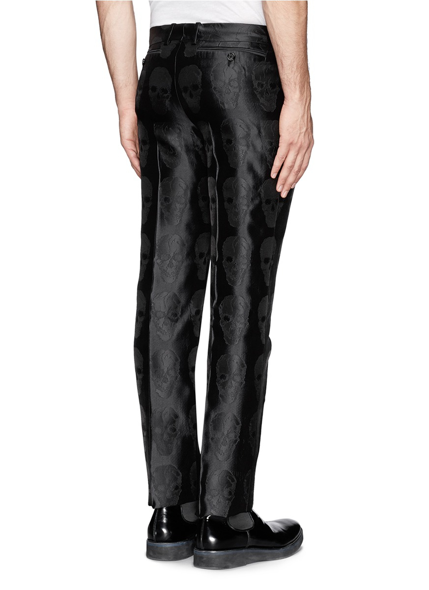 Alexander mcqueen Skull Jacquard Silk Pants in Black for ...