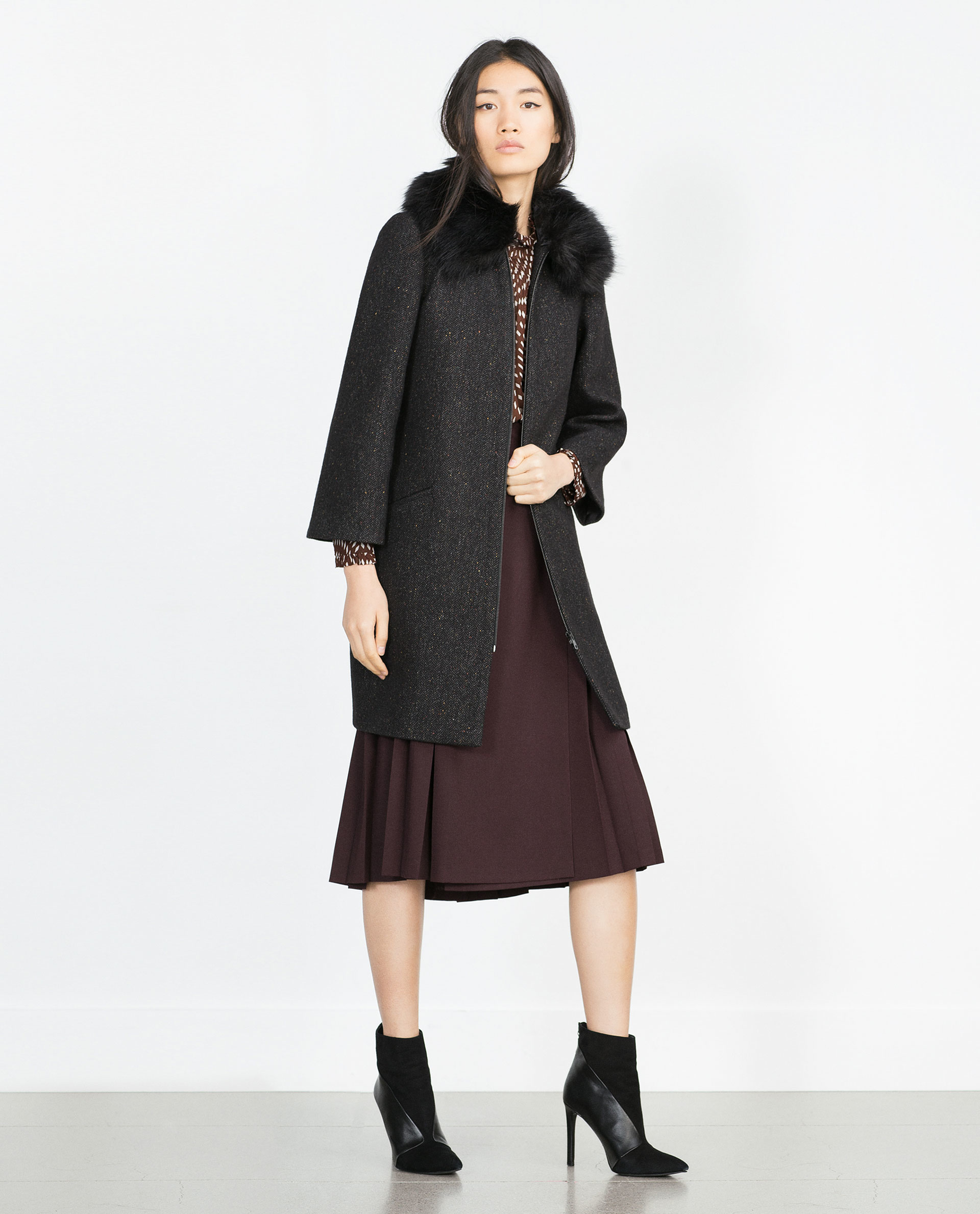 Zara Cape Sleeve Coat In Black | Lyst