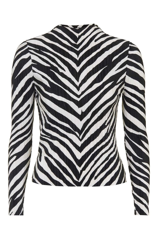 3ba577df1eb8df TOPSHOP Zebra Crinkle Top in Black - Lyst