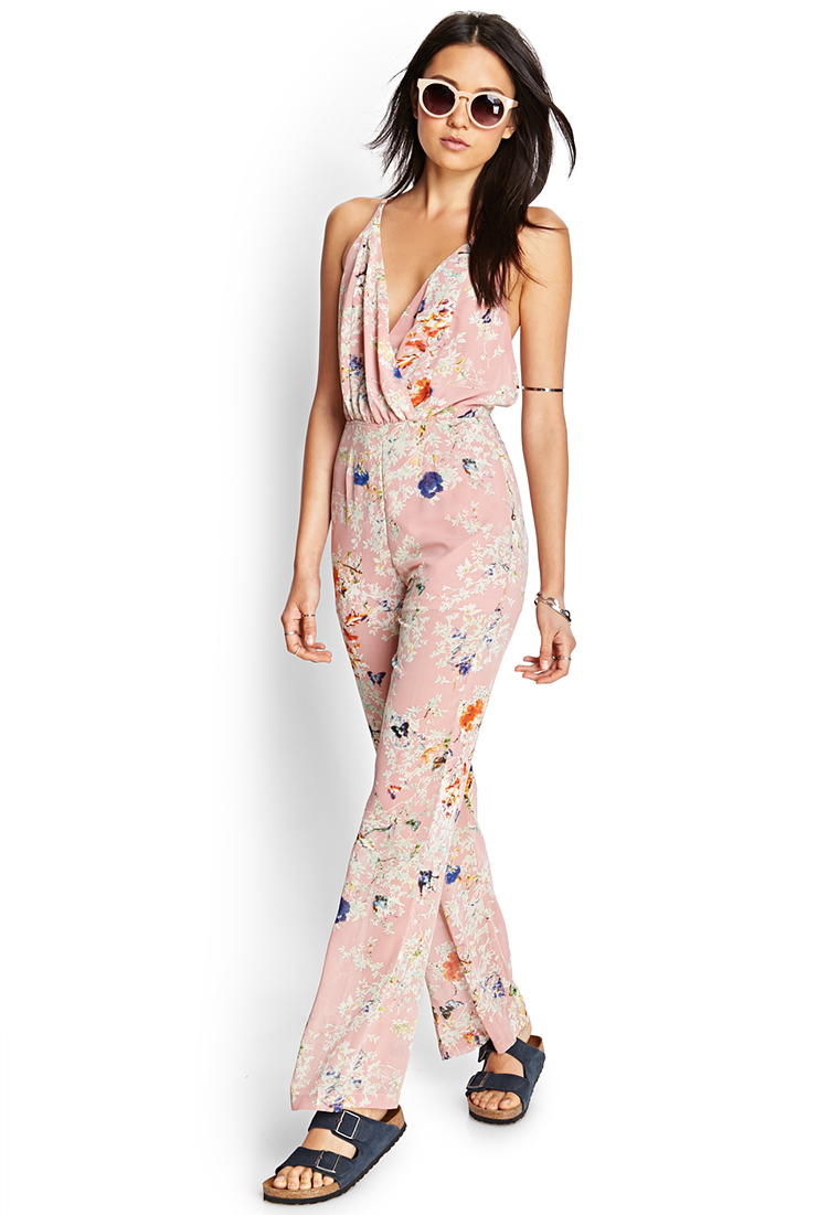 7ca6363f14d Lyst - Forever 21 Retro Floral Jumpsuit in Pink