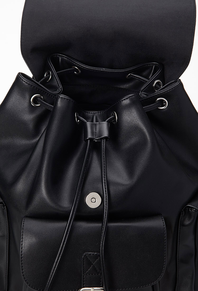 Lyst - Forever 21 Faux Leather Buckled Backpack in Black 84e0a700044b6