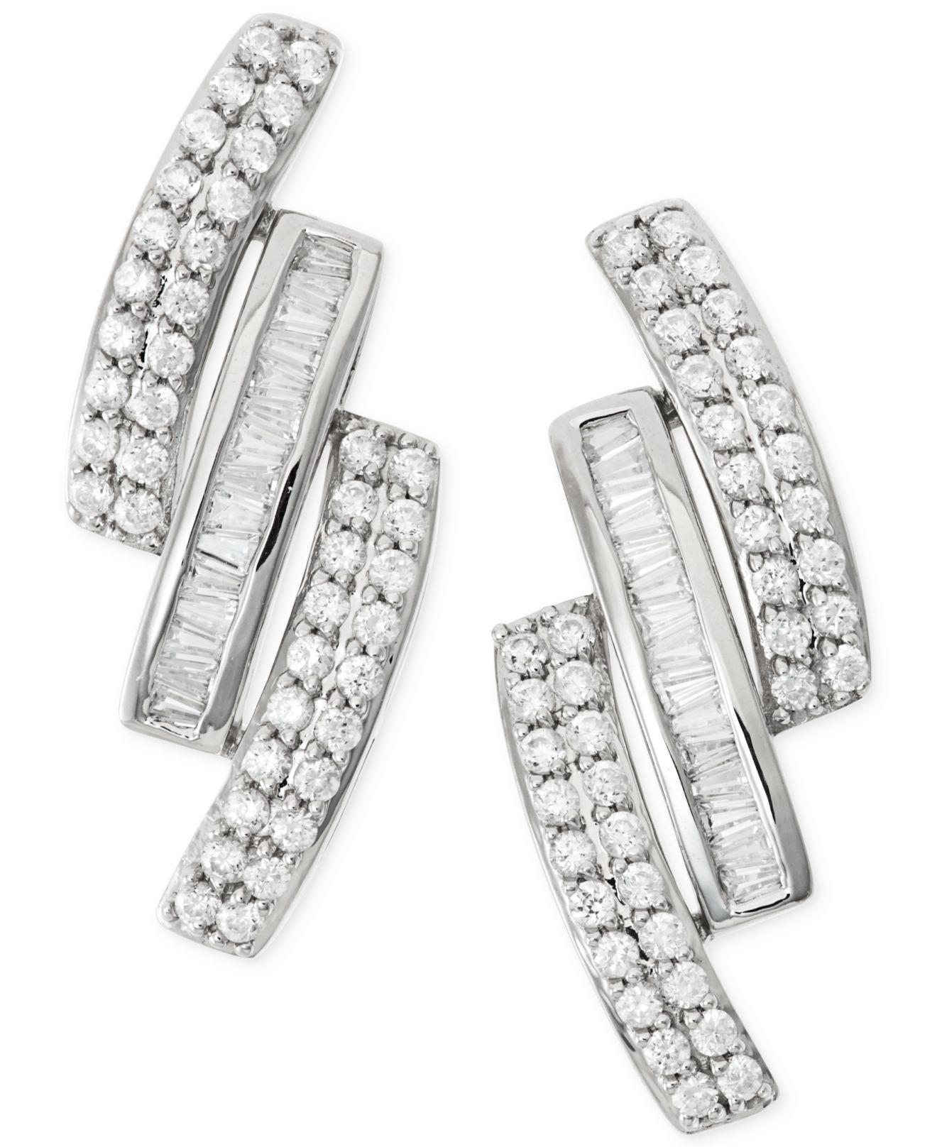 Wrapped In Love Diamond Three Row Earrings 1 Ct T W In 14k White Gold In Metallic Lyst