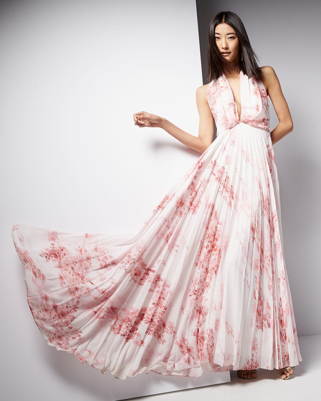 Light pink and white maxi dress