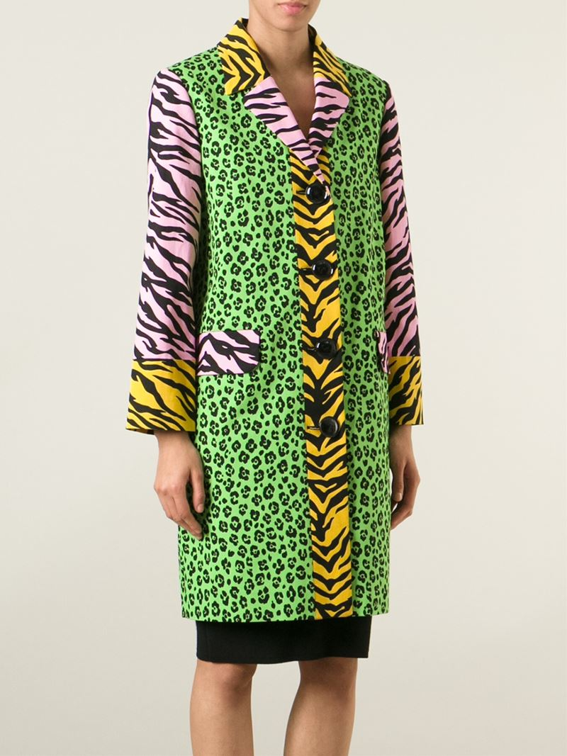 Lyst Boutique Moschino Mixed Animal Print Coat