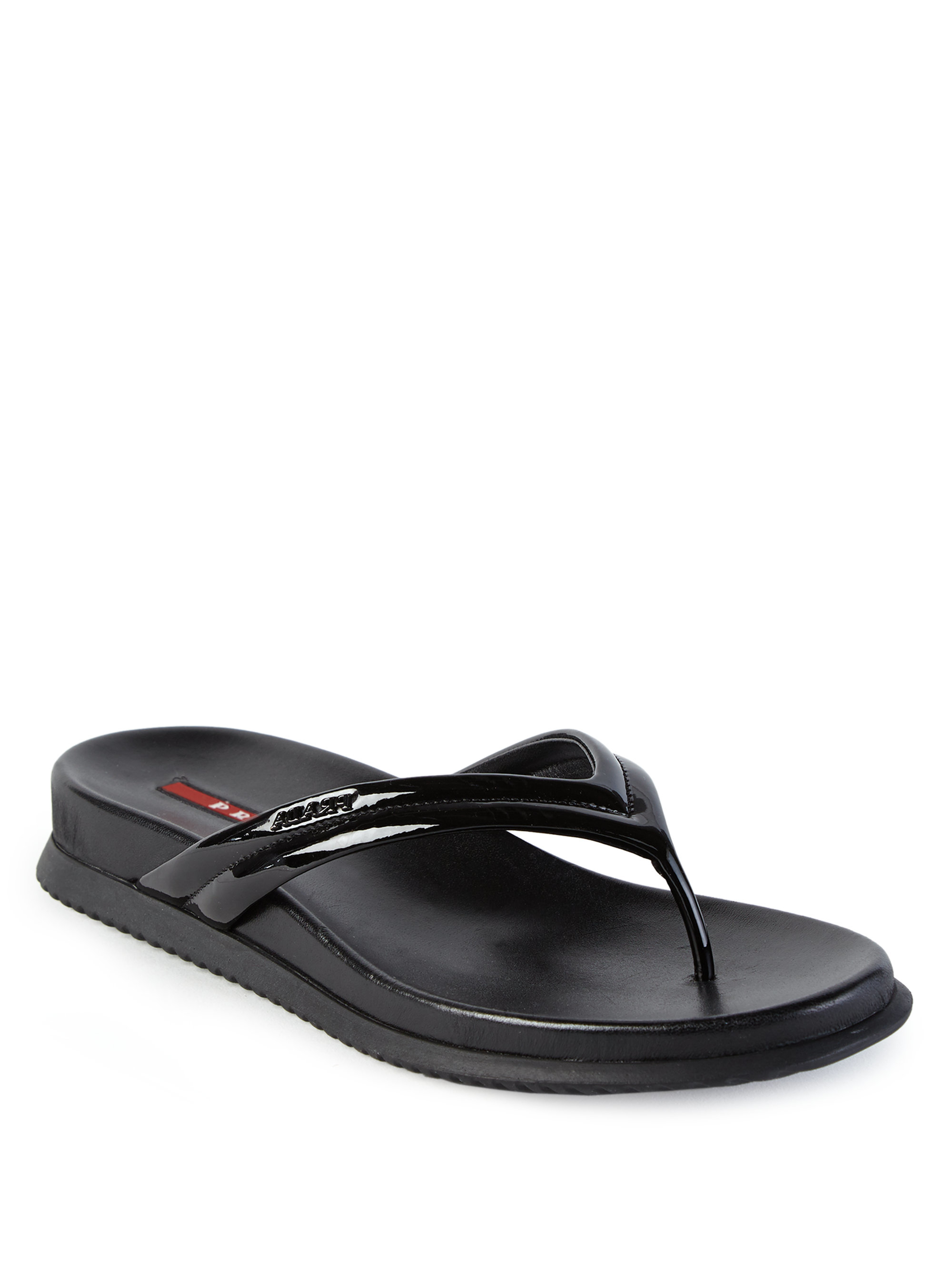 Lyst Prada Patent Leather Flip Flops In Black