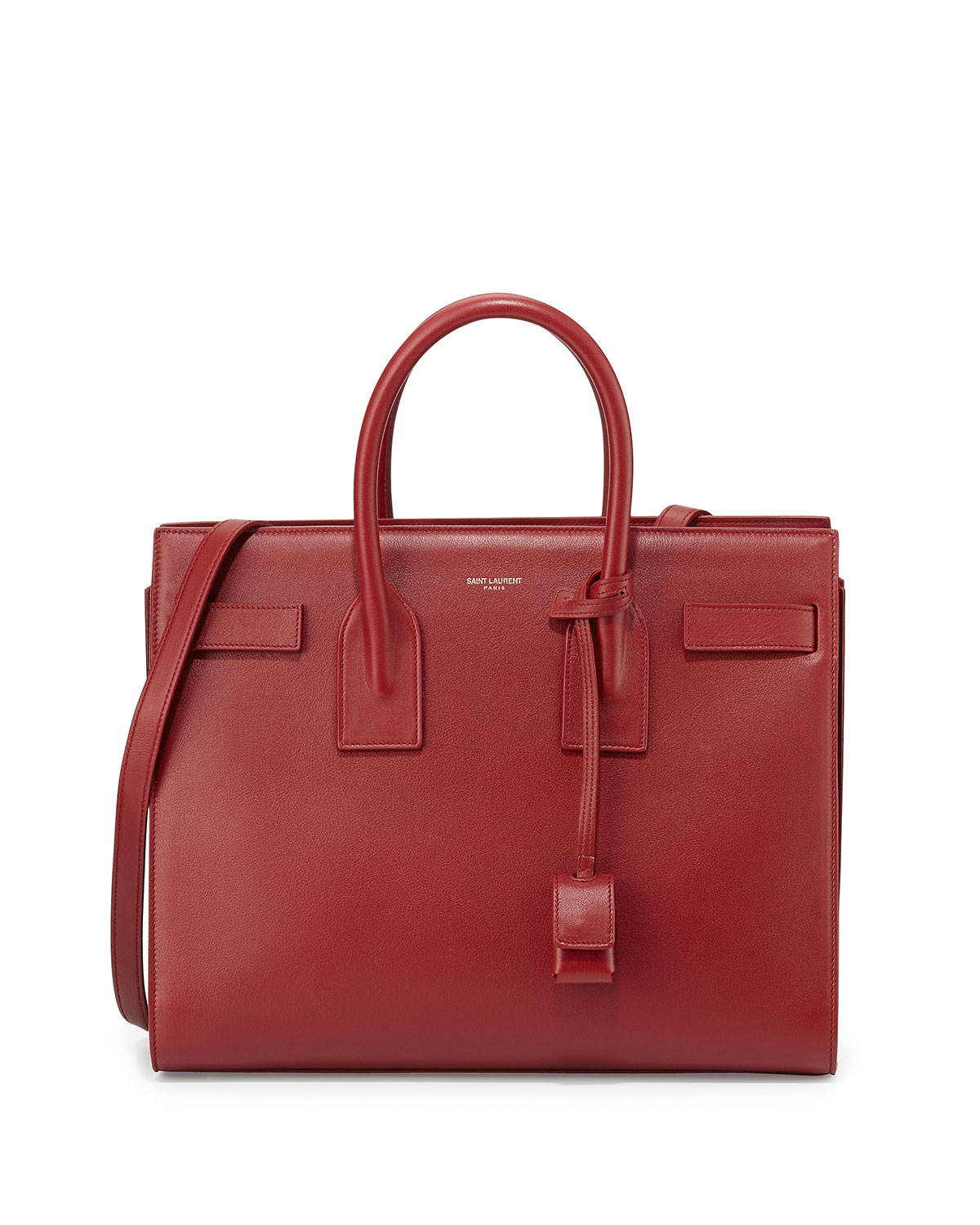 lyst saint laurent sac de jour small grain leather tote bag in red. Black Bedroom Furniture Sets. Home Design Ideas