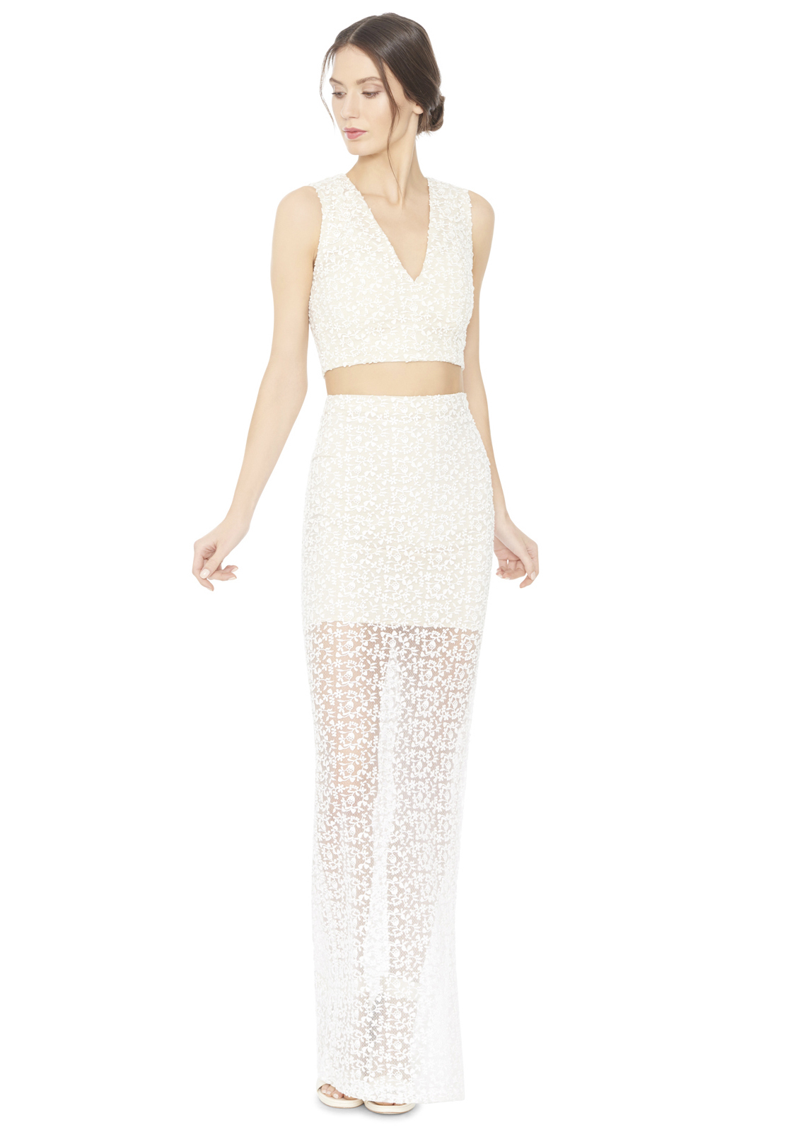 misha fitted maxi skirt in white lyst