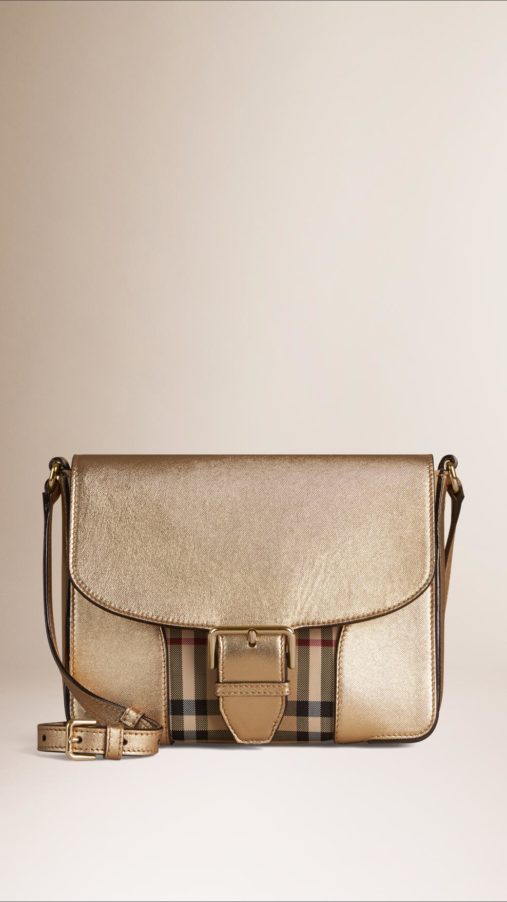 ec84babe8cb2 Lyst - Burberry Small Horseferry Check And Leather Crossbody Bag in Natural