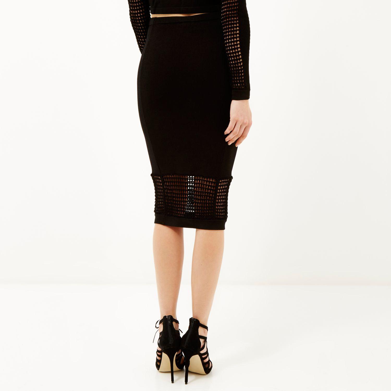 e9ff51655b River Island Black Grid Mesh Pencil Skirt in Black - Lyst