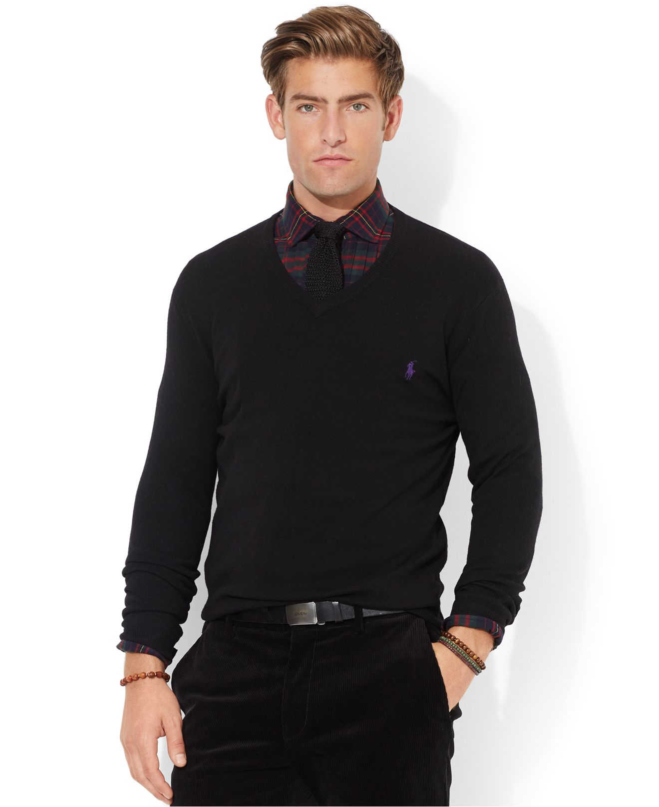 polo ralph lauren loryelle merino wool v neck sweater in black for men lyst. Black Bedroom Furniture Sets. Home Design Ideas