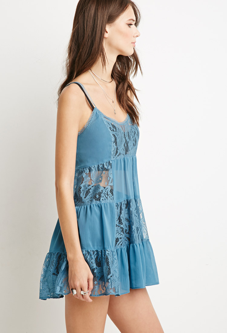 32d178e57972 Lyst - Forever 21 Lacy Crepe Tiered Dress in Blue