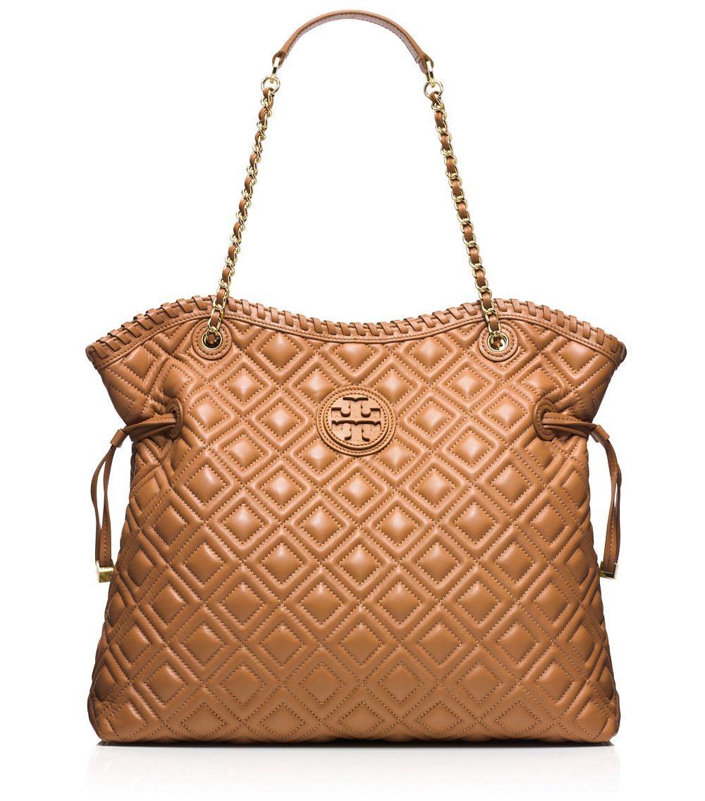 Lyst Tory Burch Marion Quilted Tote In Brown