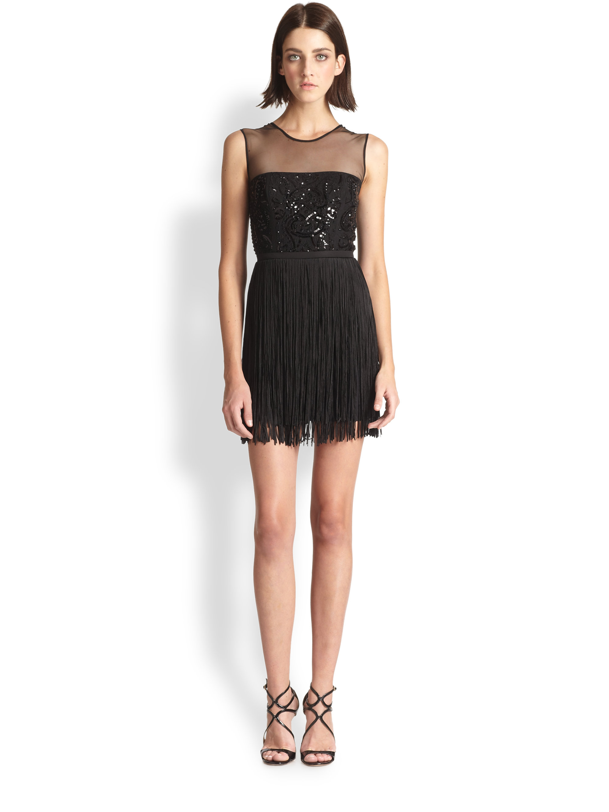 Bcbgmaxazria Melly Sequin Fringe Cocktail Dress In Black