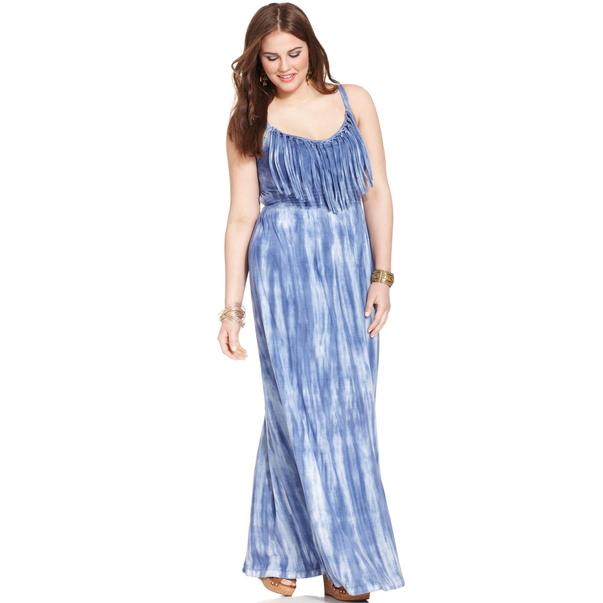 49721056b00 Lyst American Rag Plus Size Fringed Tiedye Maxi Dress In Blue. Turquoise  Purple Tie Dye ...
