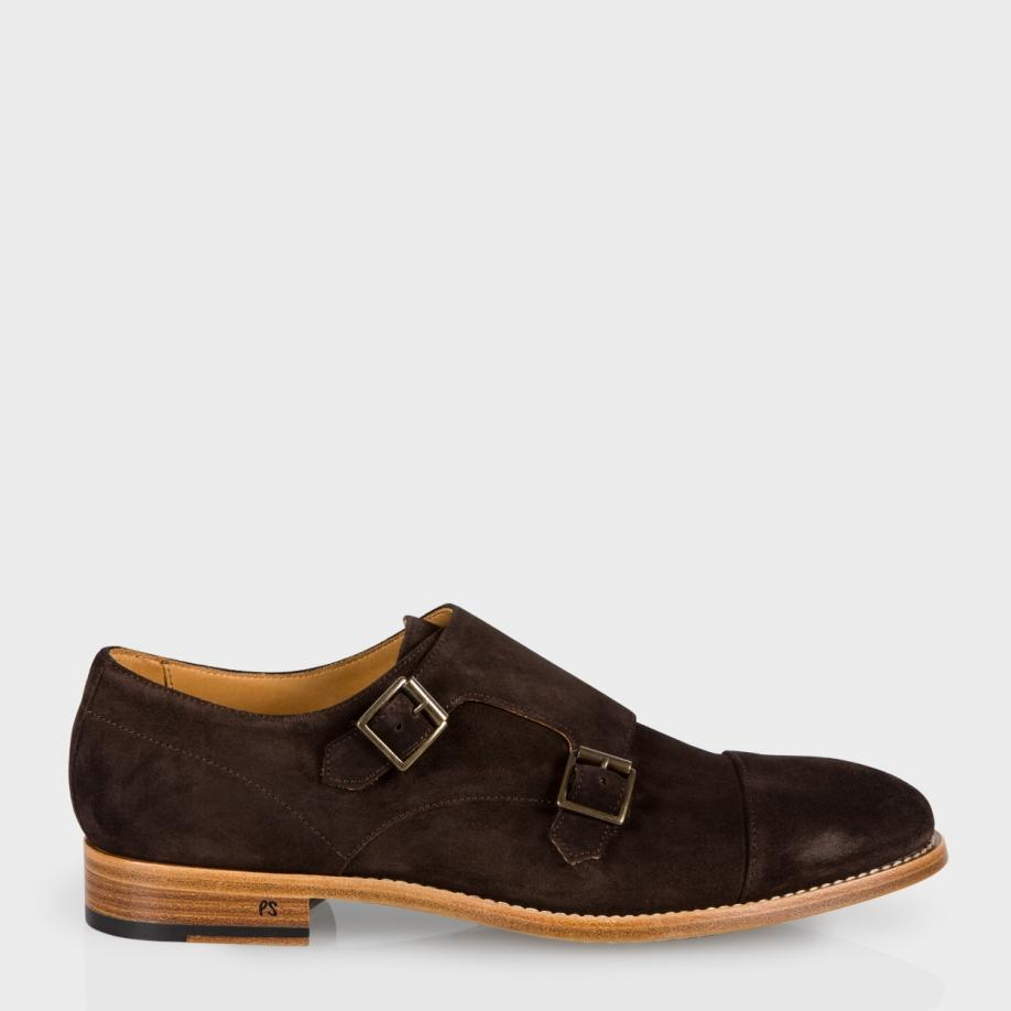 paul smith s brown suede atkins monk shoes in