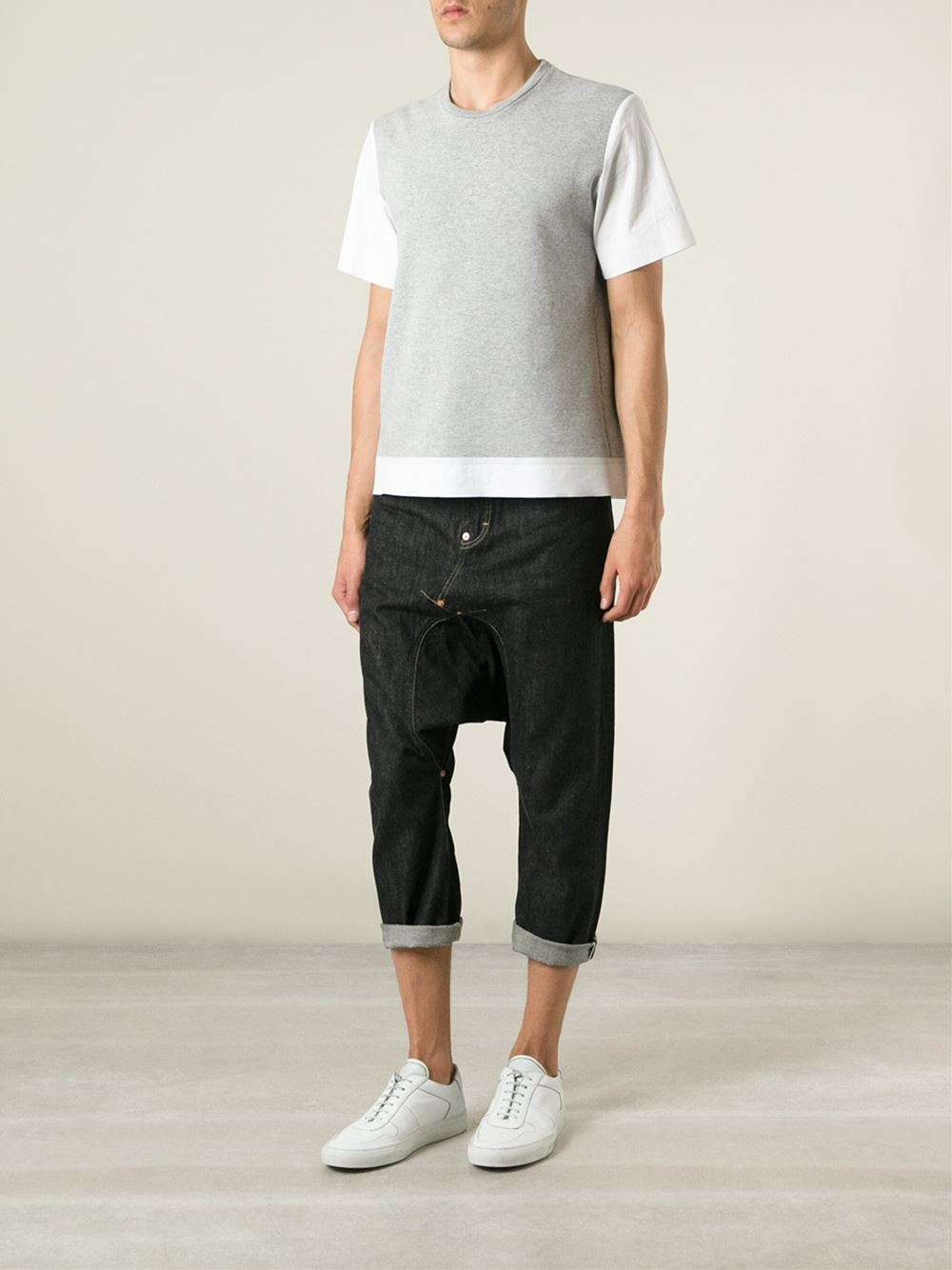 Lyst Ganryu Comme Des Gar 231 Ons Cropped Drop Crotch Jeans