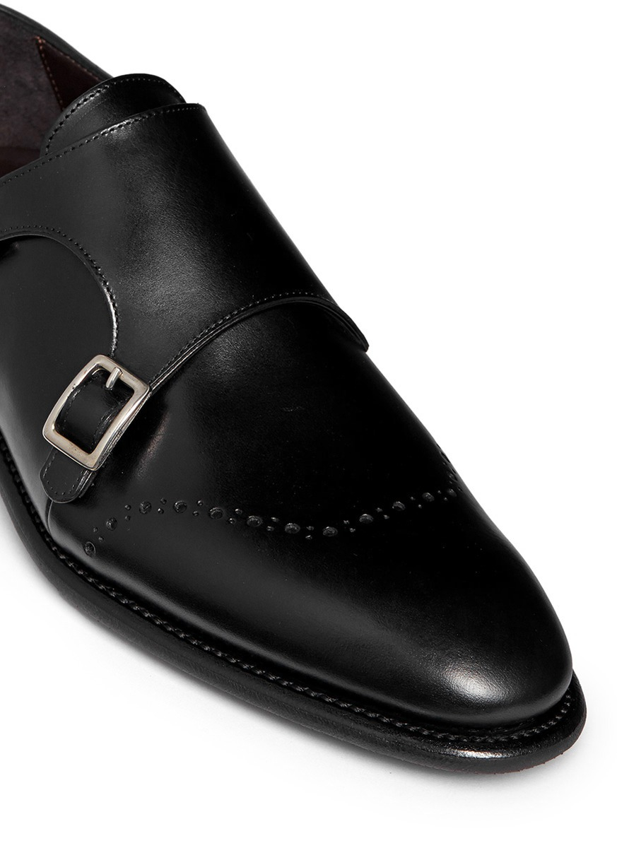 Lyst Canali Leather Monk Strap Shoes In Black For Men