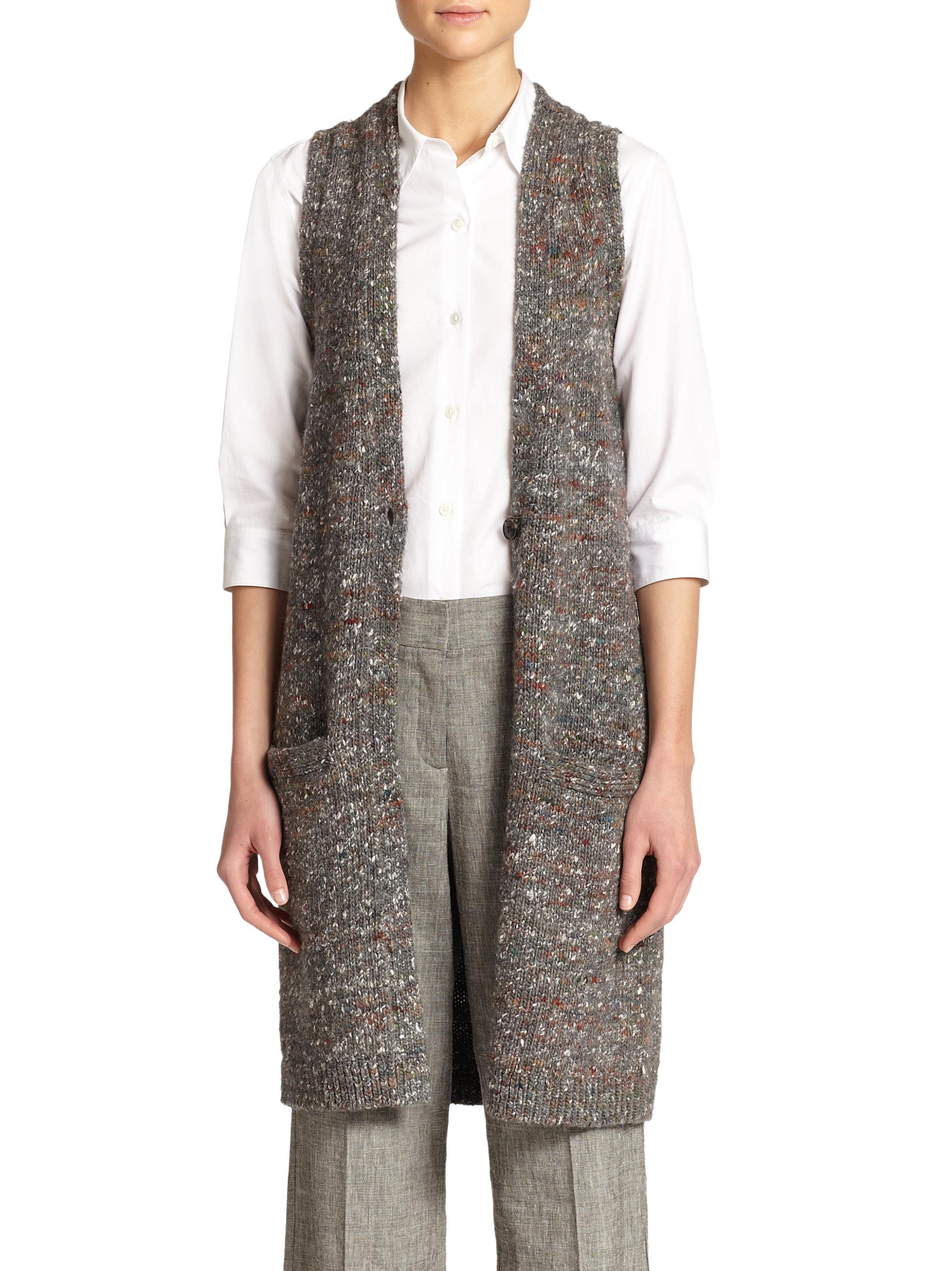e59a5bea4ba39 Lyst - Theory Minareeya Wool   Silk Sleeveless Cardigan in Gray