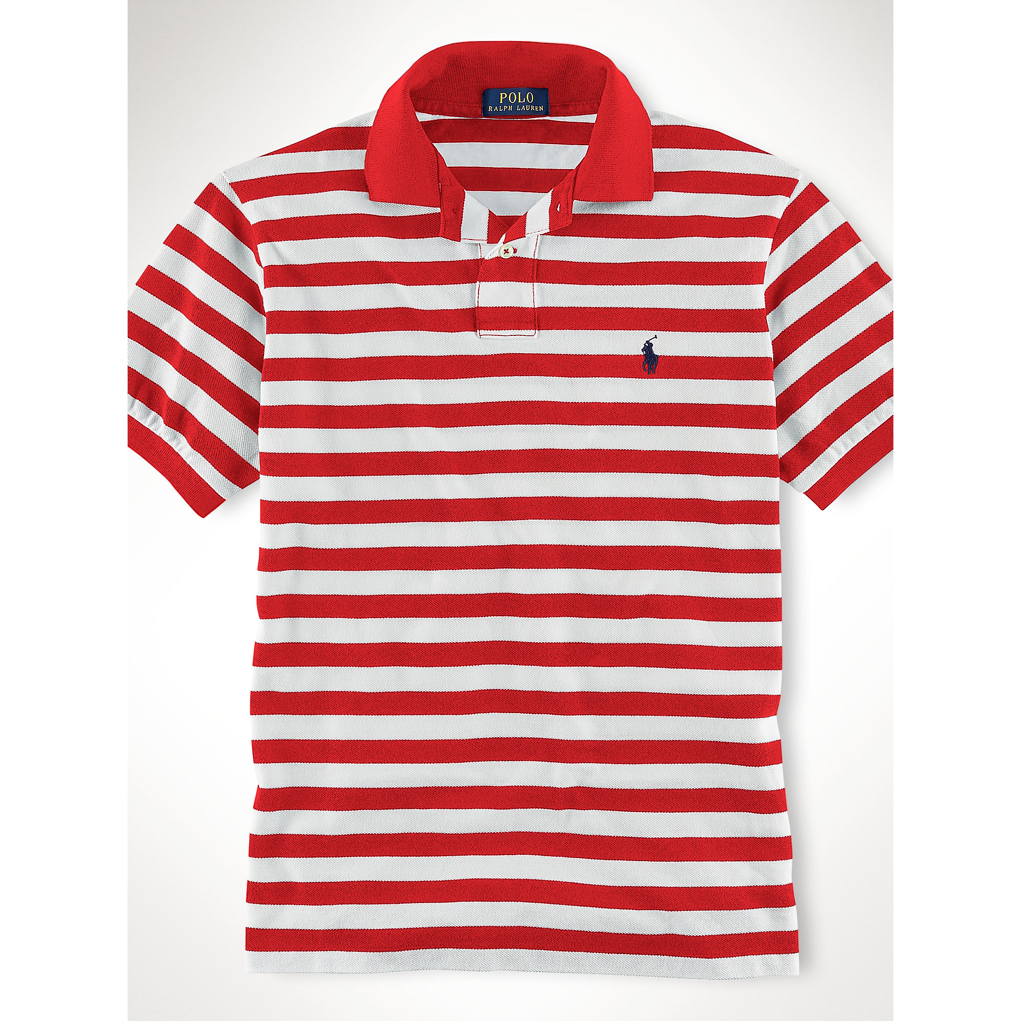 polo ralph lauren custom fit striped polo shirt in red for