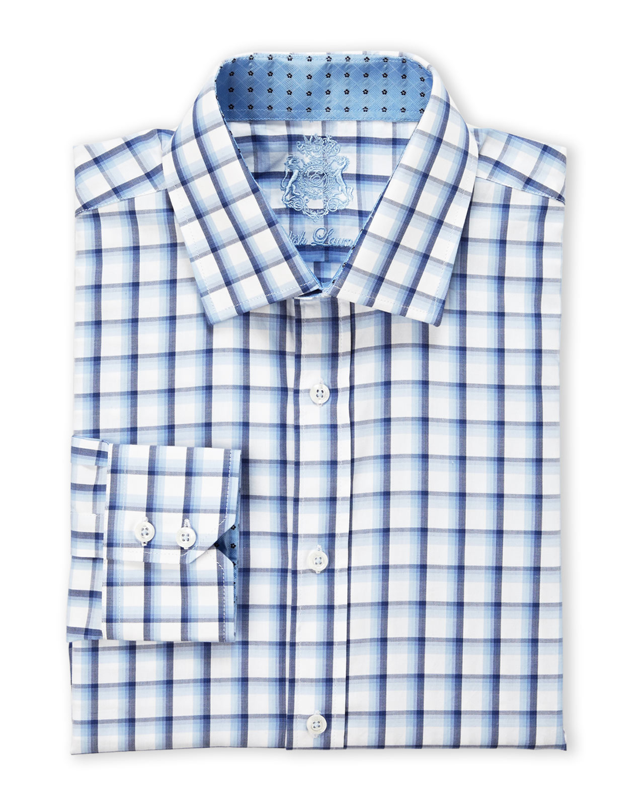 Lyst english laundry navy white check dress shirt in for Navy blue checkered dress shirt