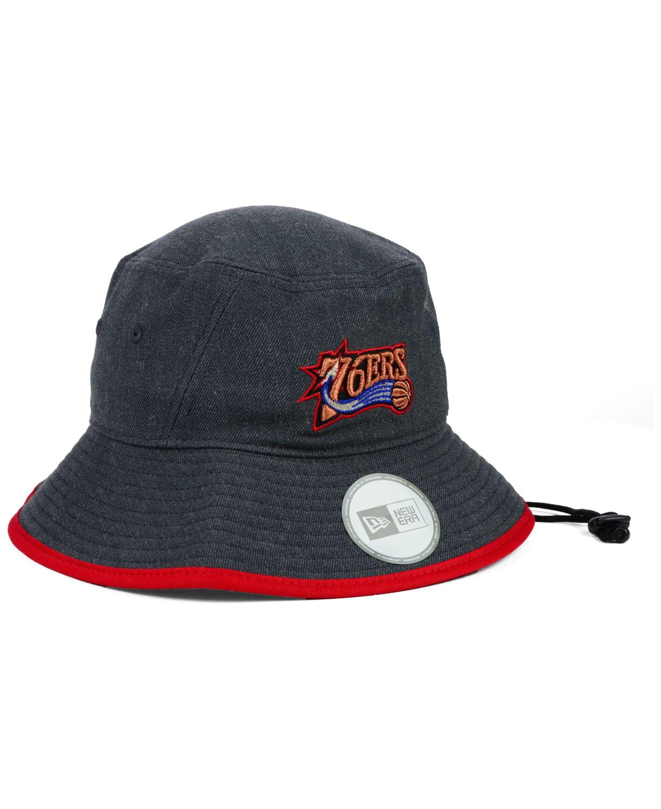 fdd9e39dbb9 Lyst - KTZ Philadelphia 76ers Dark Heather Tipped Bucket Hat in Black for  Men