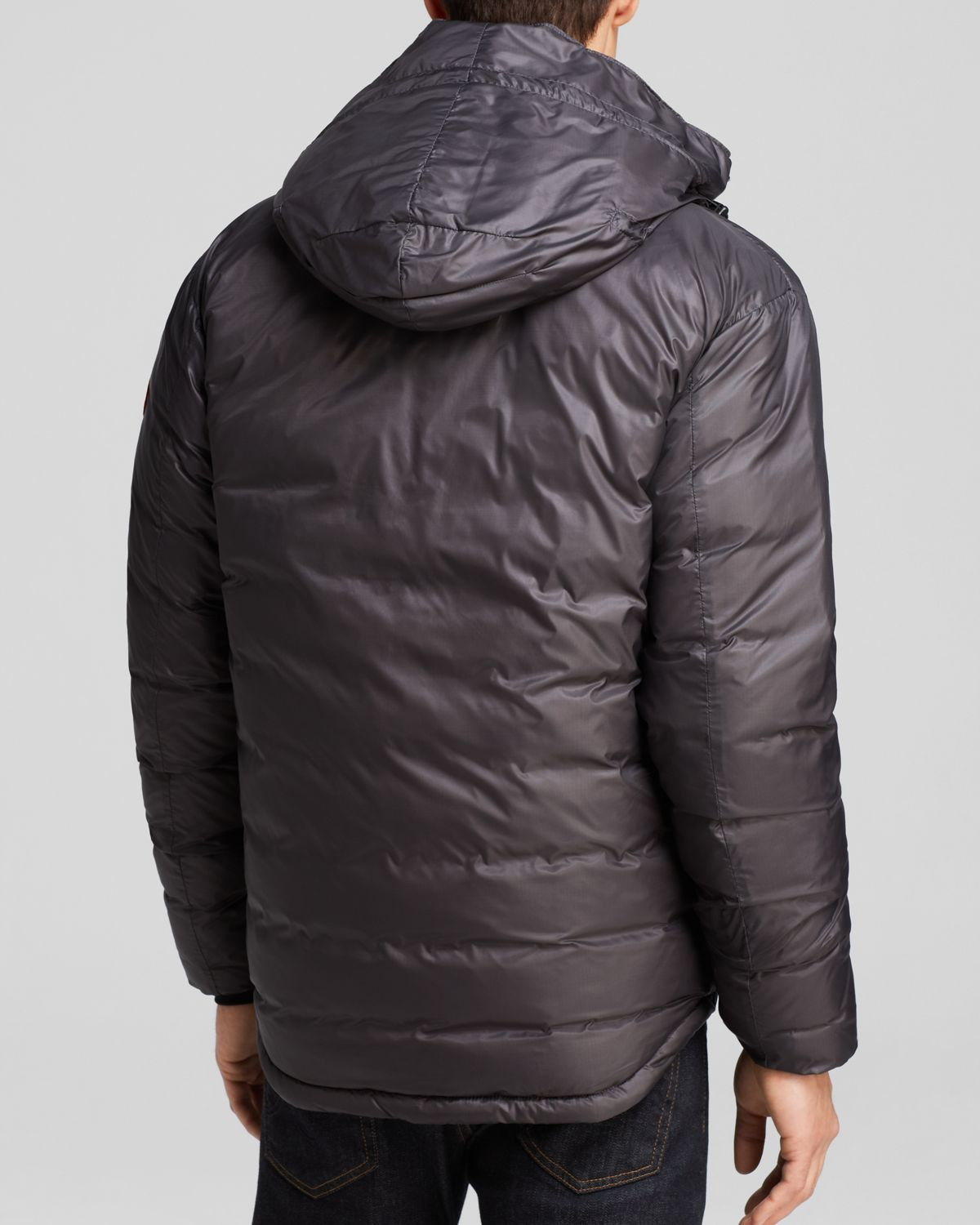 lyst canada goose lodge hooded down jacket in gray for men. Black Bedroom Furniture Sets. Home Design Ideas