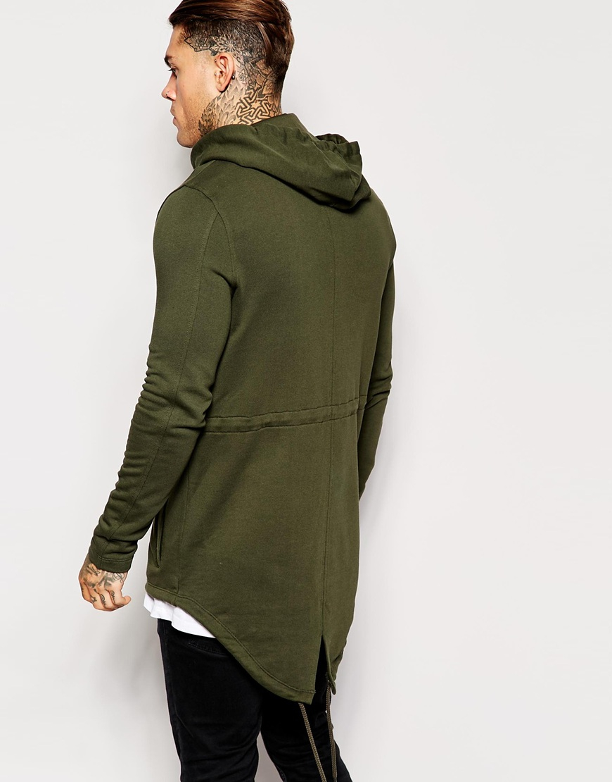 Asos Jersey Fishtail Parka in Green for Men | Lyst