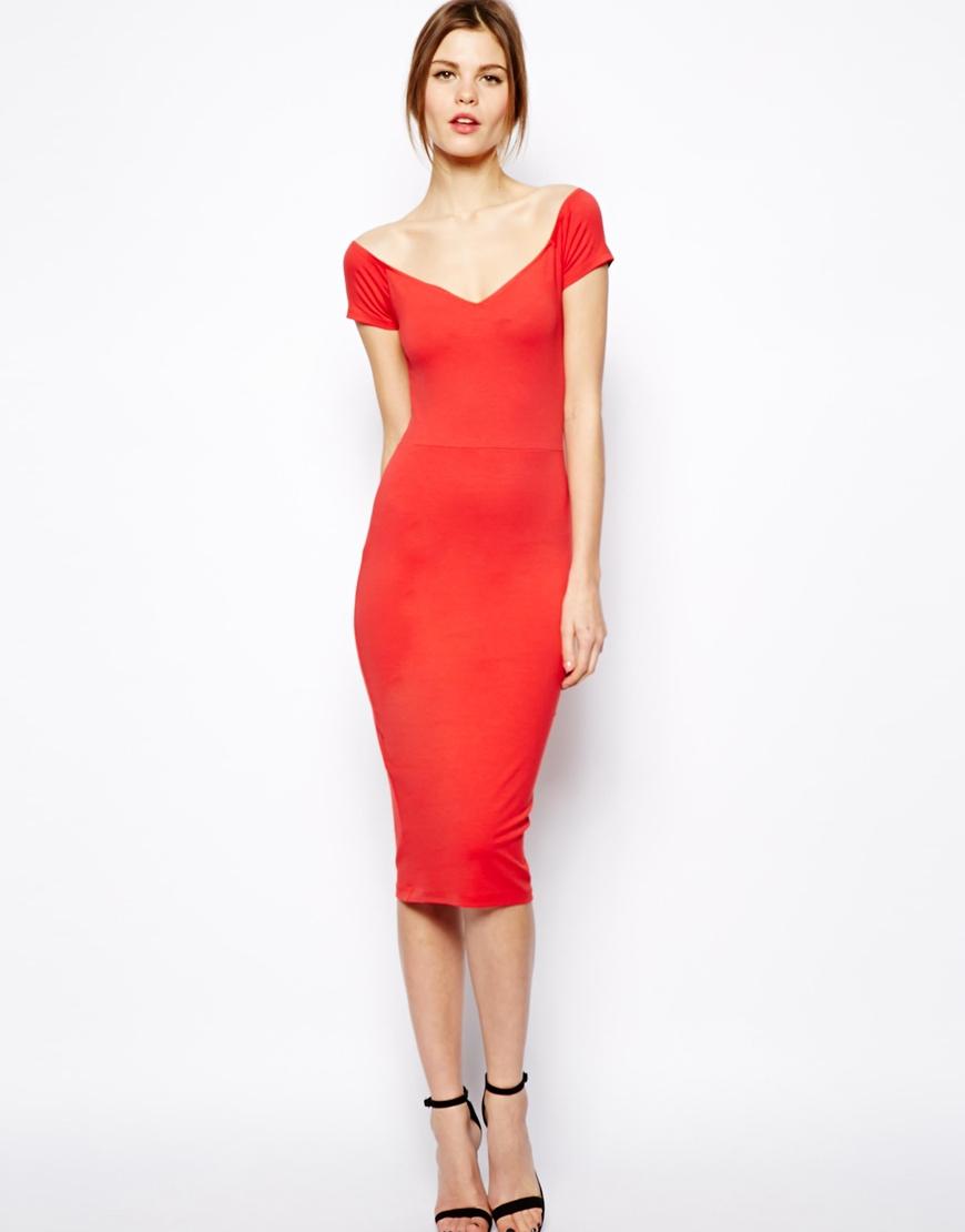 Asos Bardot Cross Back Midi Dress in Red  Lyst