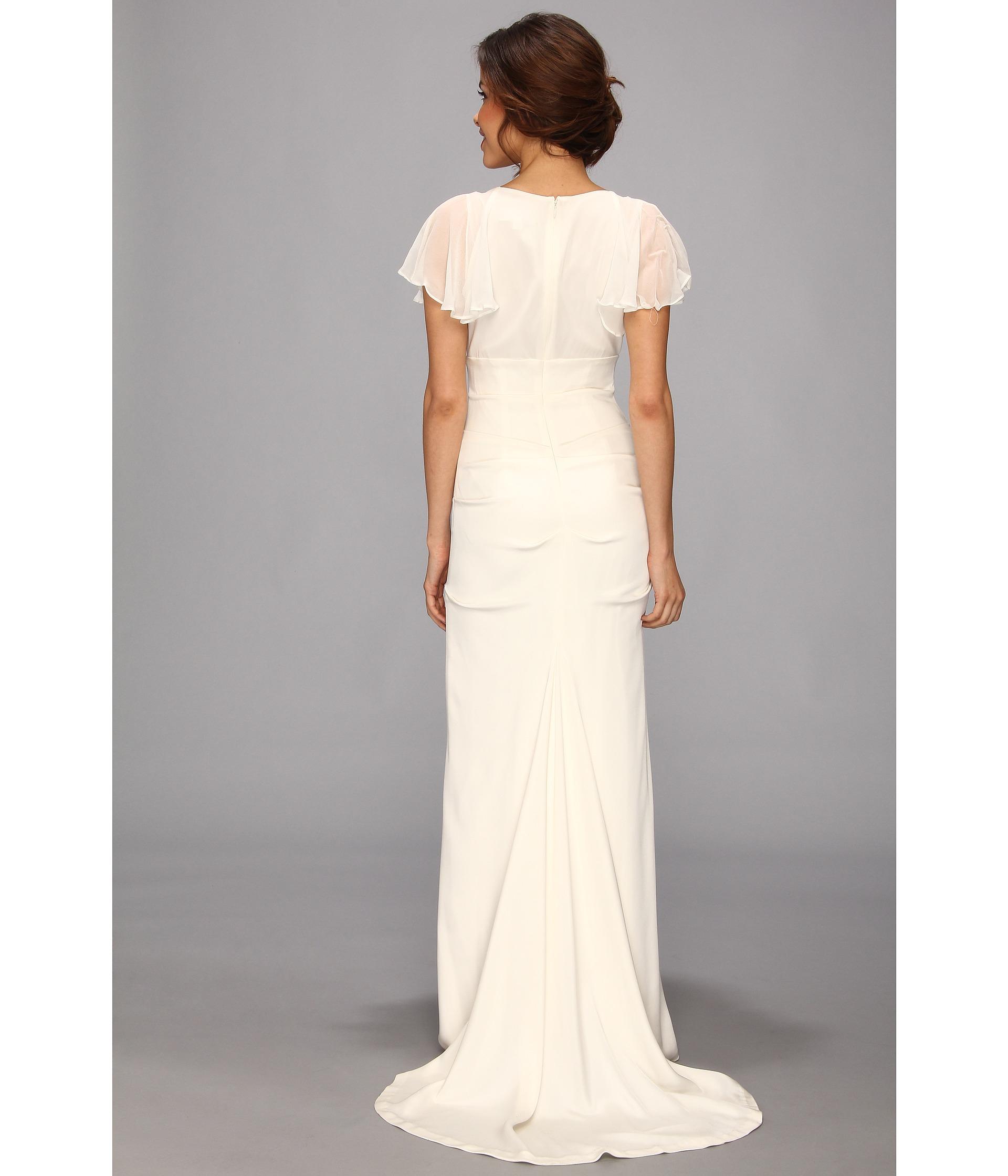 Nicole miller silk stretch flutter sleeve bridal gown in for Helen miller wedding dresses