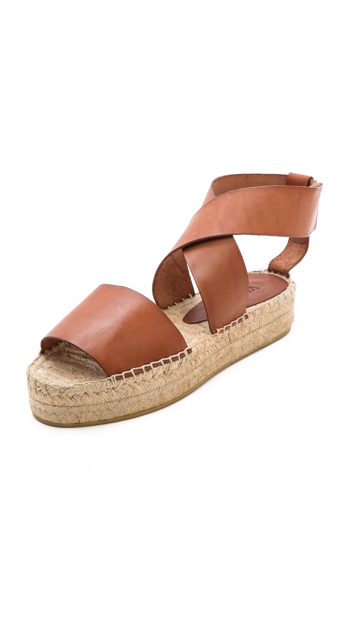 Lyst Vince Elise Espadrille Flat Sandals Luggage In Brown