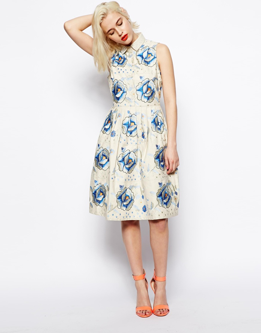 Asos Premium Embroidered Skater Dress With Blue Flowers in Blue | Lyst