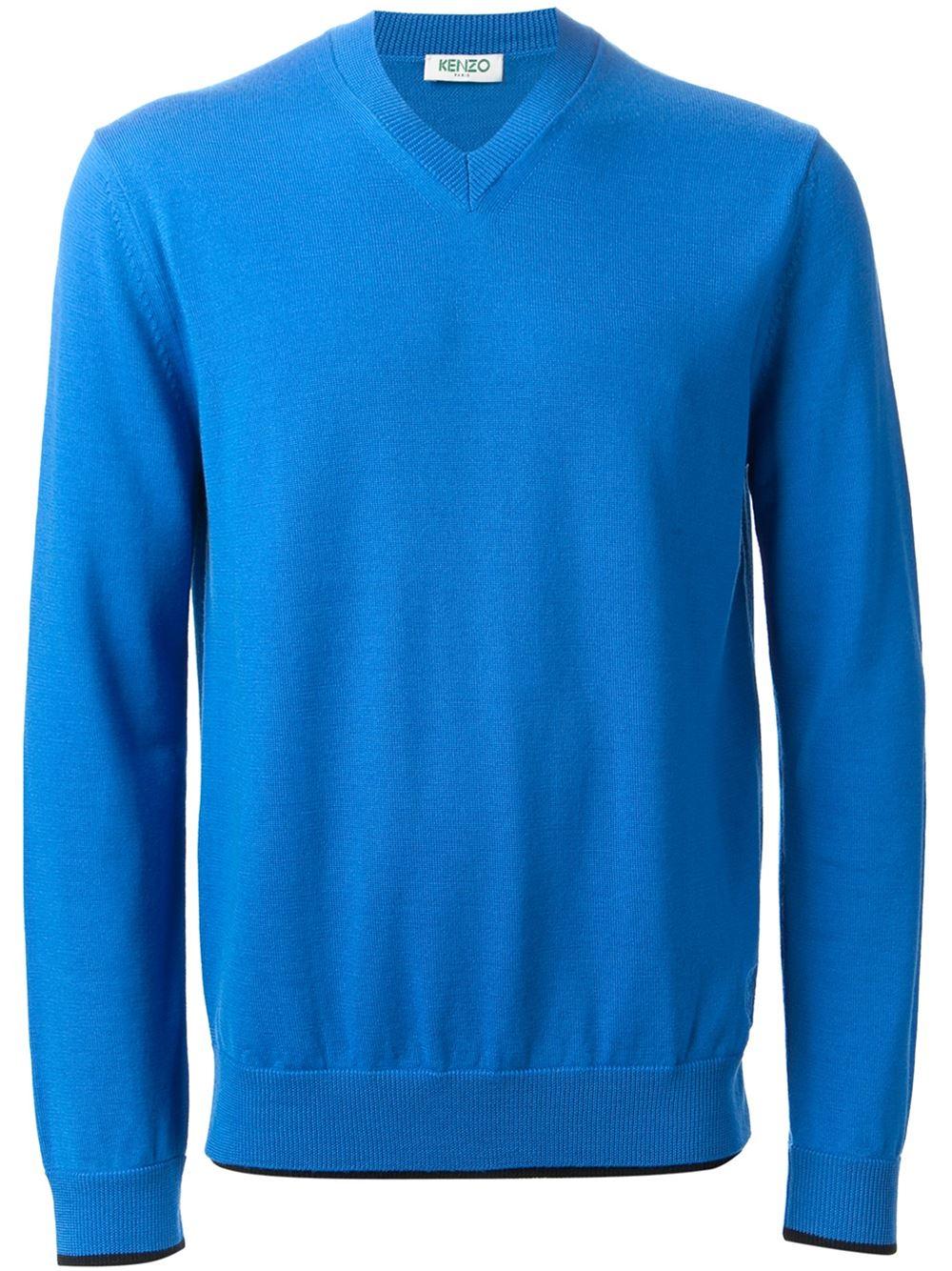 kenzo v neck sweater in blue for men lyst. Black Bedroom Furniture Sets. Home Design Ideas
