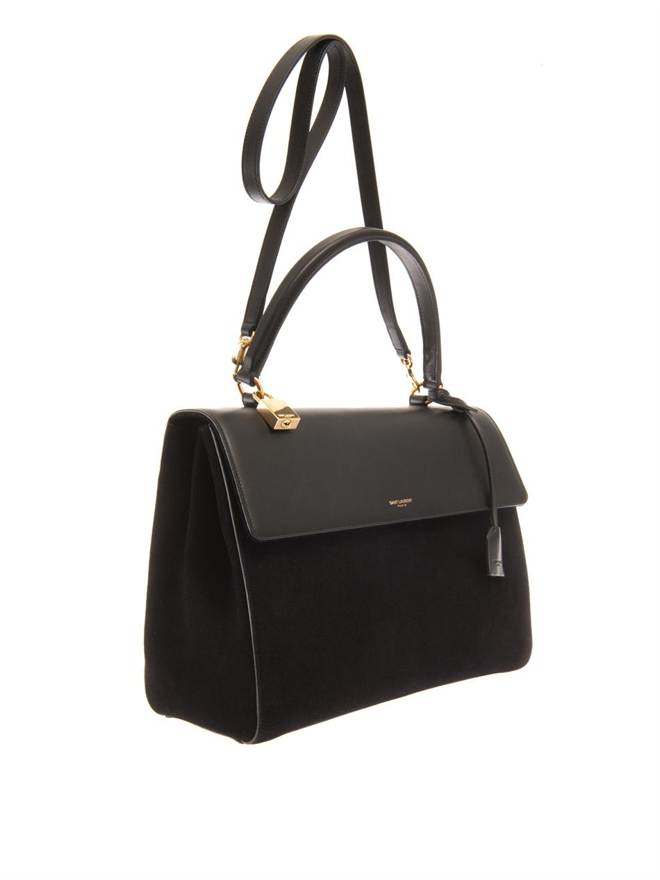 Lyst - Saint Laurent Moujik Suede And Leather Tote in Black f24aa2db76