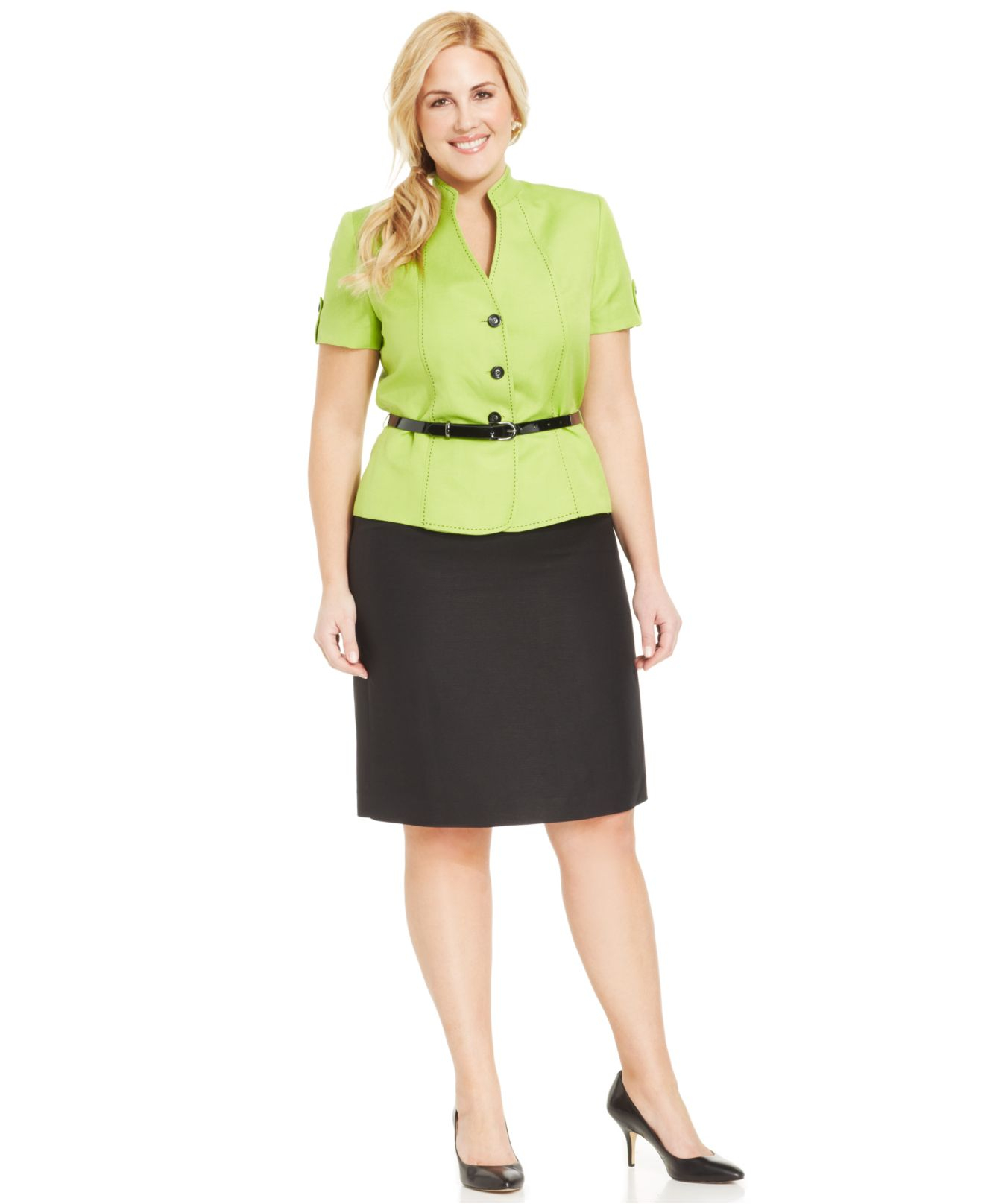 4c2724b93304f Lyst - Tahari Plus Size Belted Skirt Suit in Green