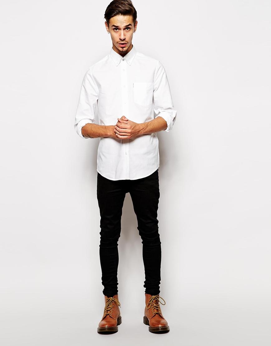 Lyst ben sherman oxford shirt in white for men for White oxford shirt mens