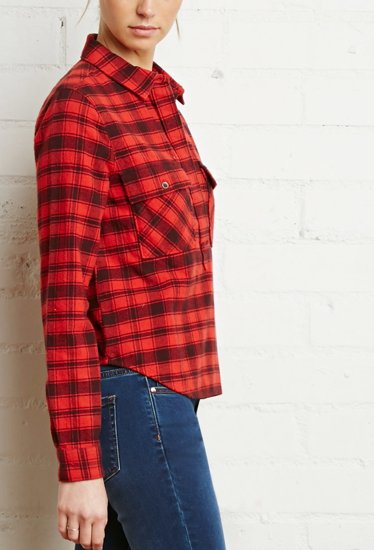 Forever 21 Tartan Plaid Popover Shirt In Red Lyst