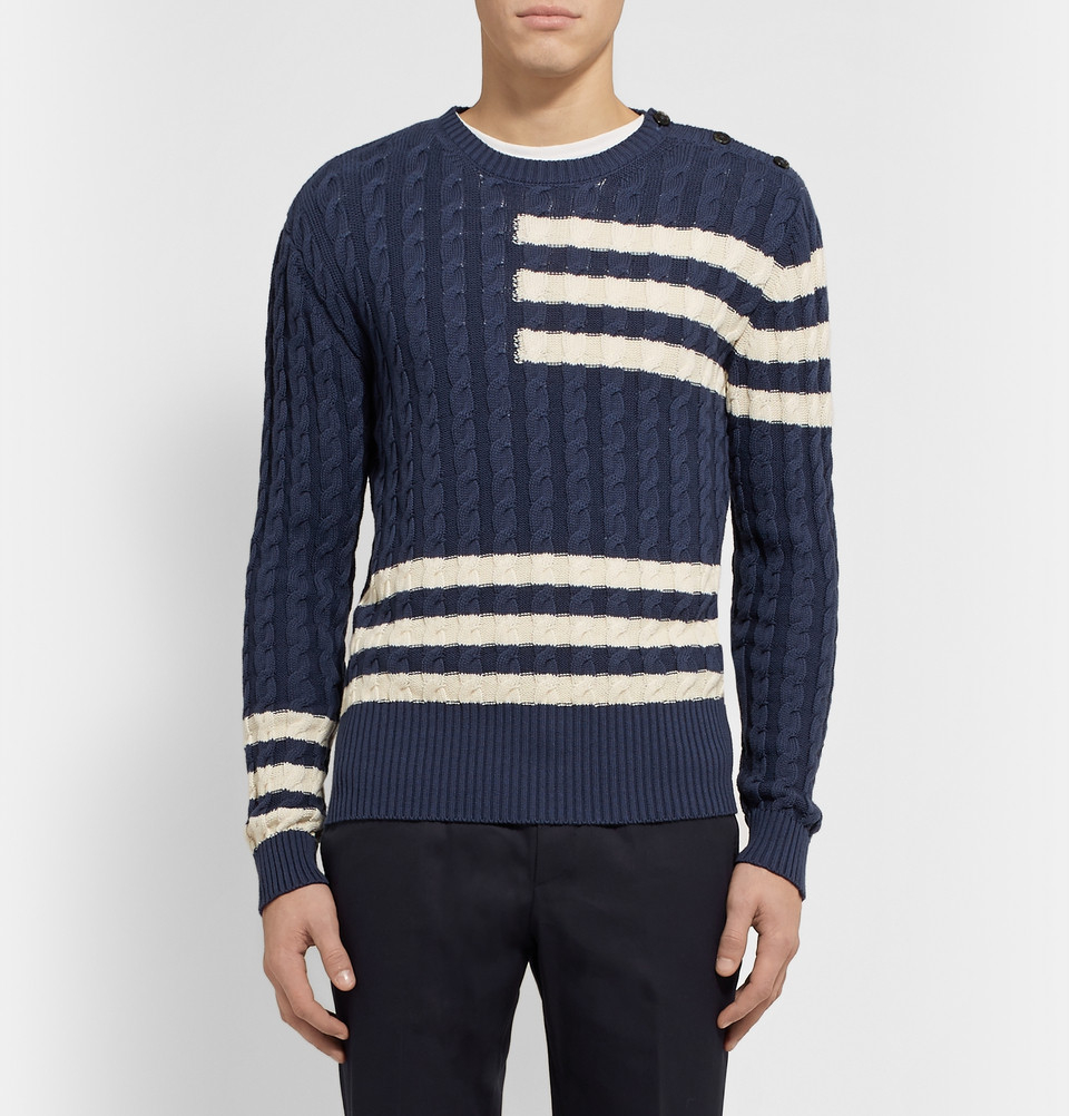Etro Striped Cotton And Cashmere-blend Sweater - Blue yR0WG