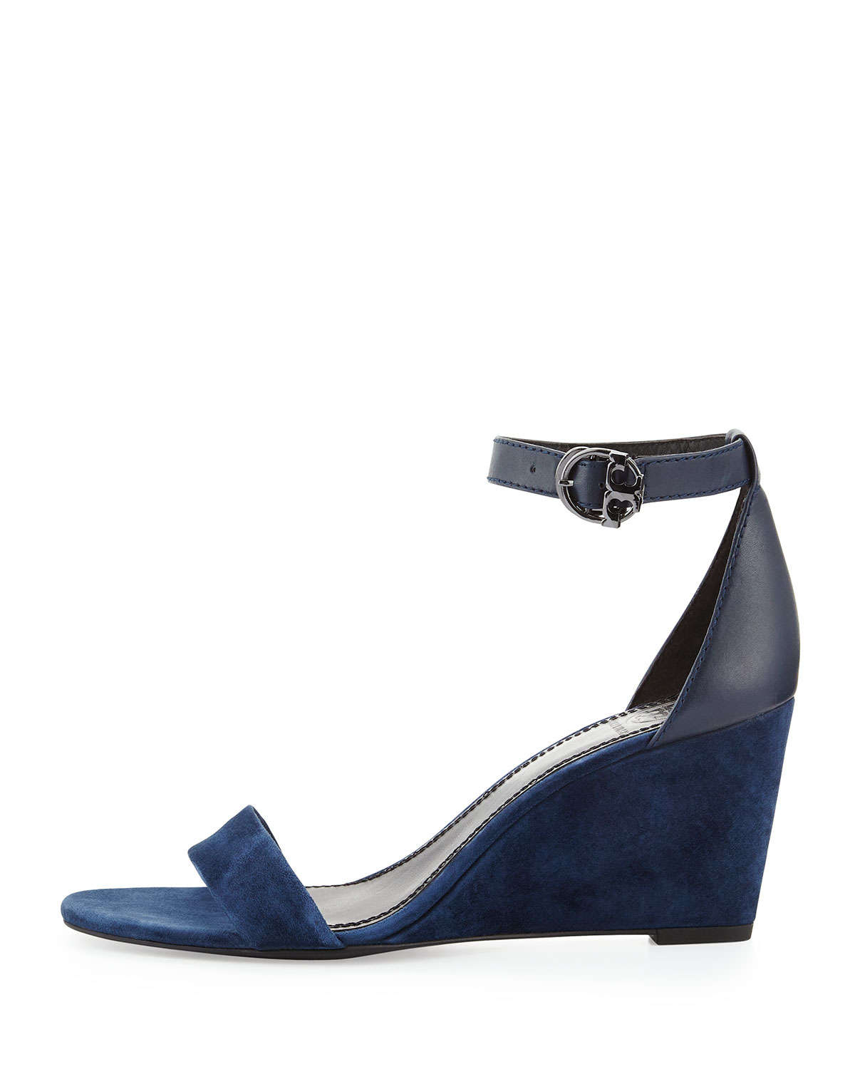 c26aa588c604f Lyst - Tory Burch Thames Suede Wedge Sandal in Blue