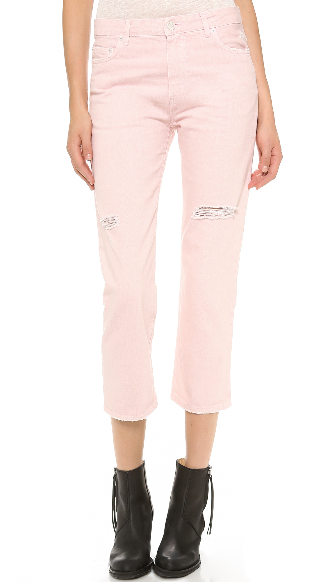 Acne studios Pop Distressed Jeans in Pink | Lyst