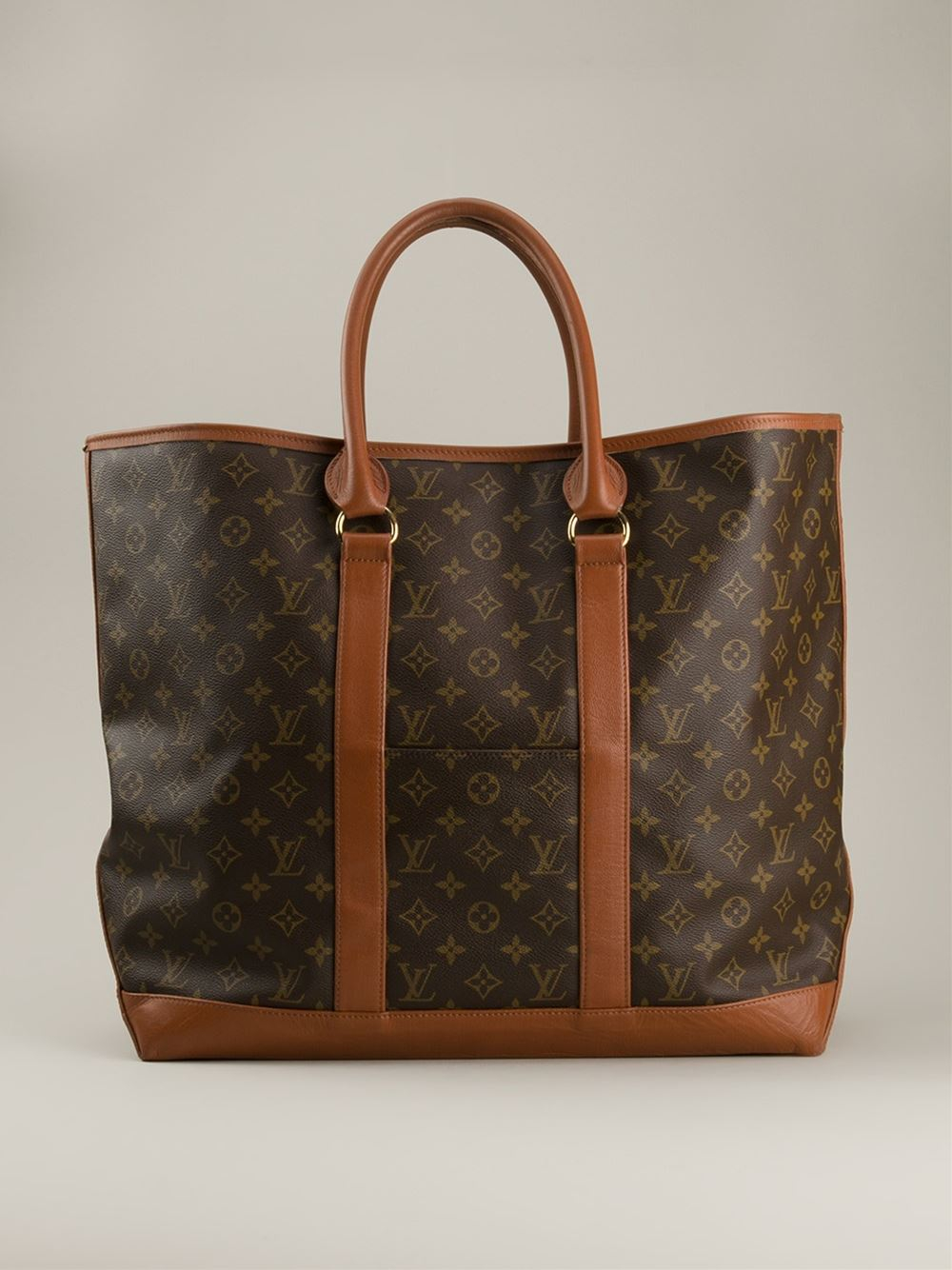 louis vuitton large weekend tote in brown lyst. Black Bedroom Furniture Sets. Home Design Ideas