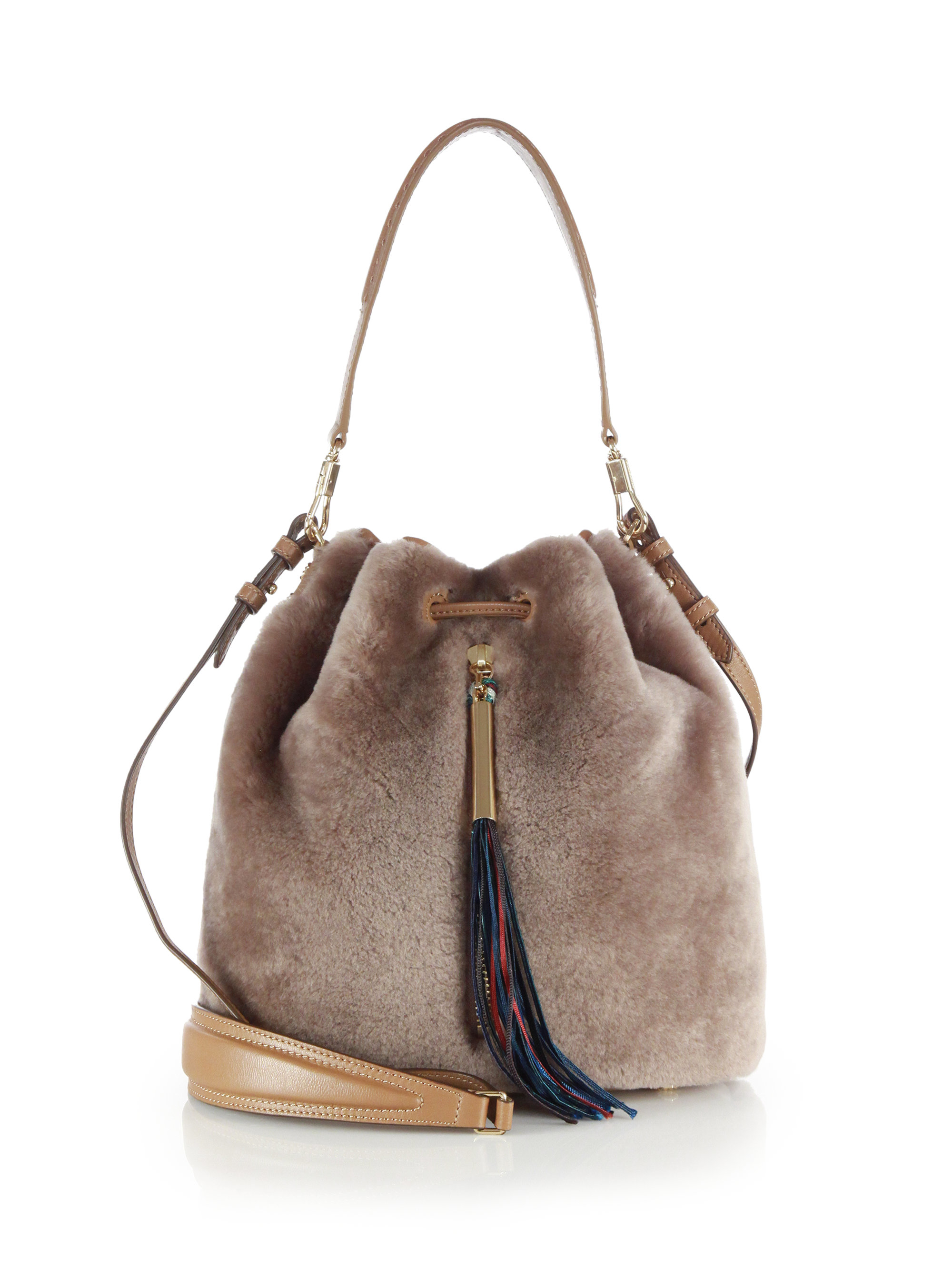Bag At You Fashion Blog Hip E Bags White Backpack: Elizabeth And James Cynnie Shearling Bucket Bag In Gray